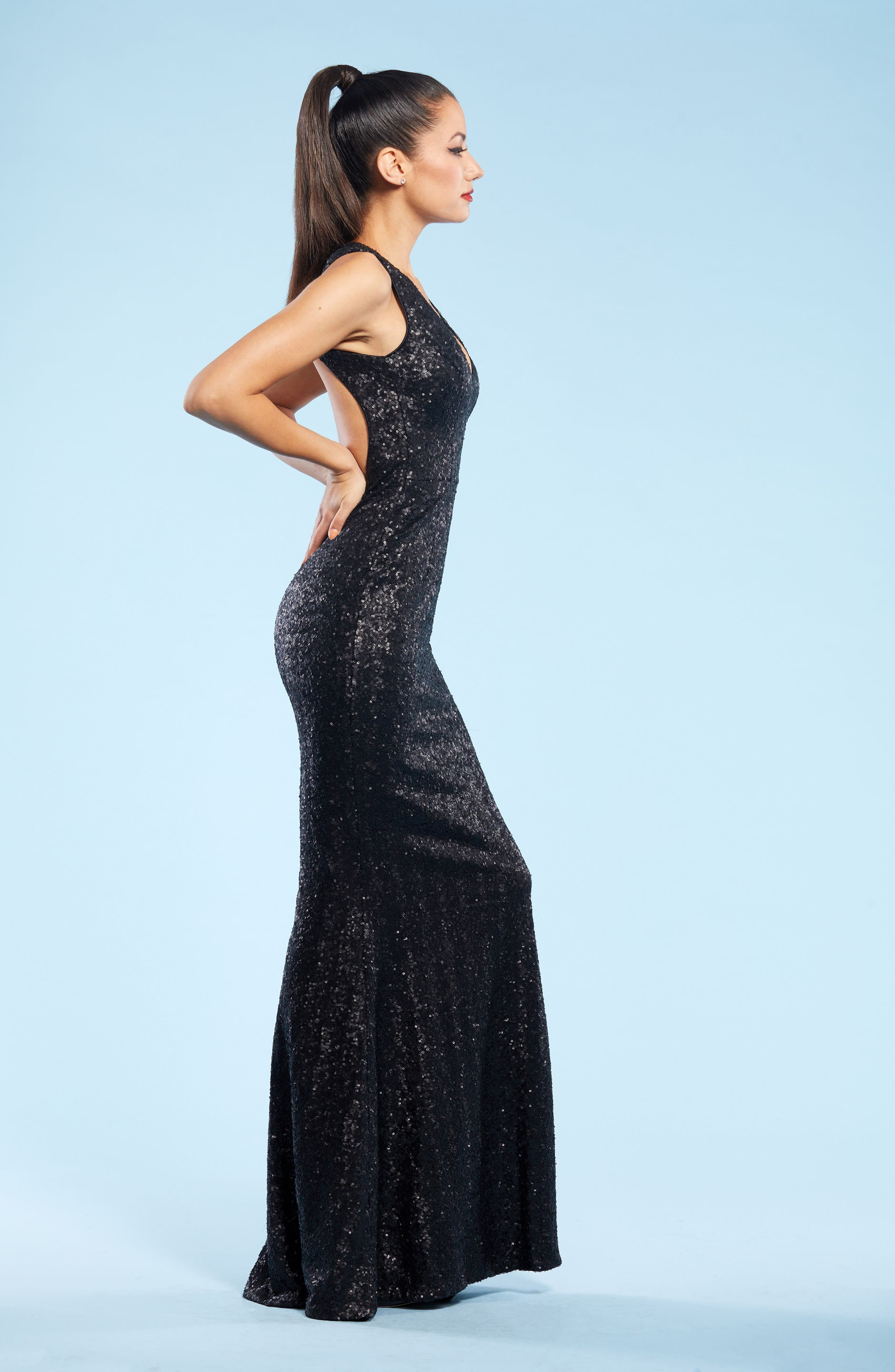 DRESS THE POPULATION, Karina Plunge Mermaid Gown, Alternate thumbnail 6, color, 018