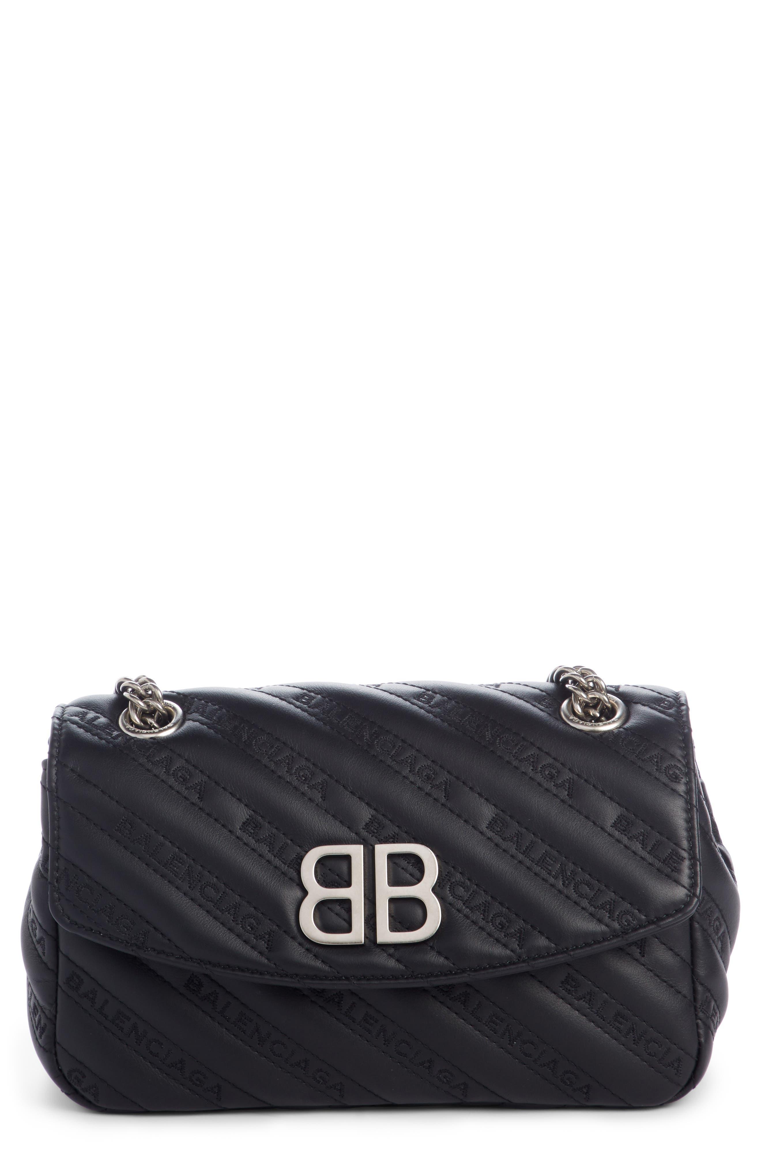 Small Matelassé Leather Shoulder Bag,                             Main thumbnail 1, color,                             NOIR