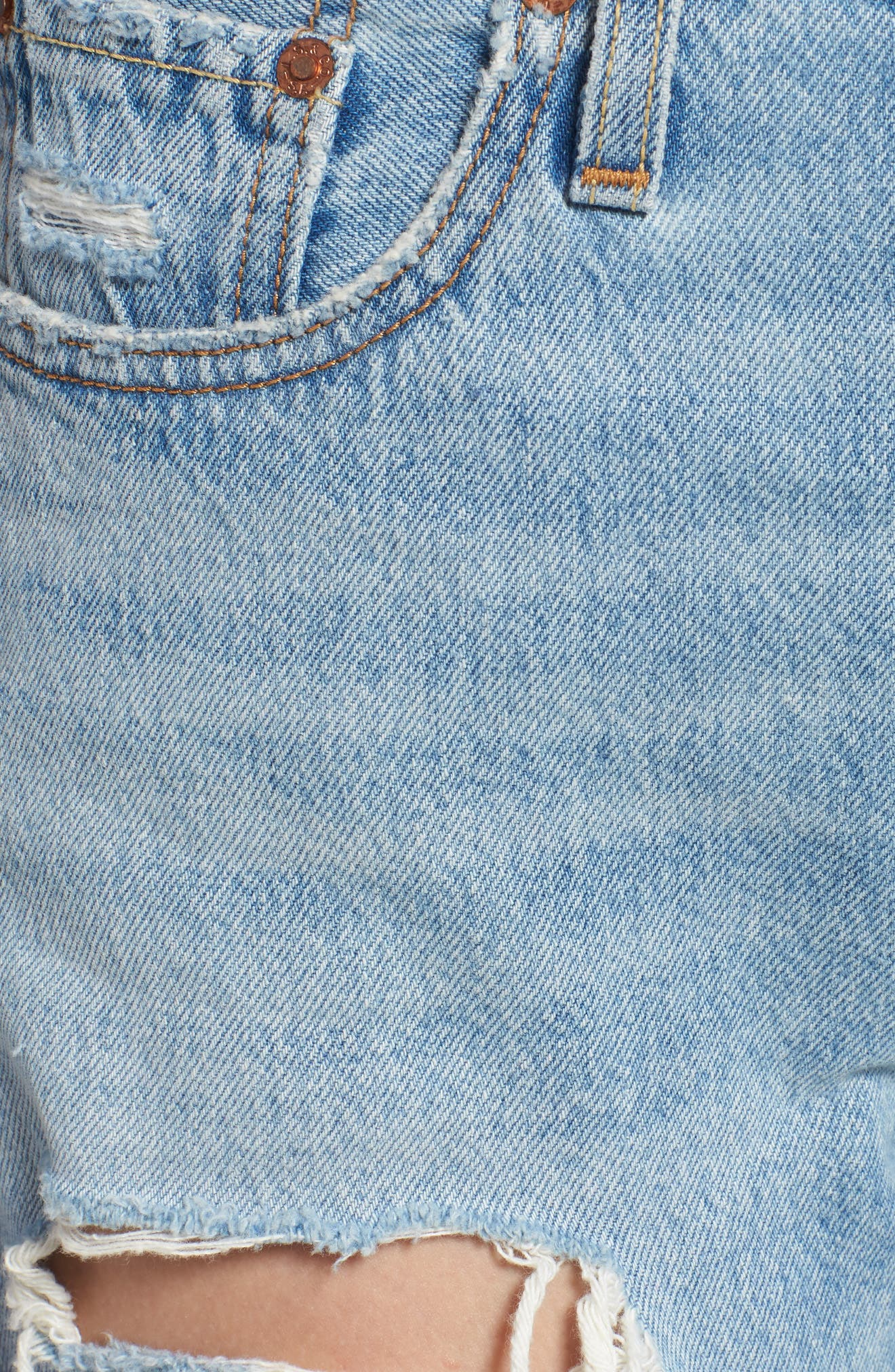 501<sup>®</sup> Ripped High Waist Skinny Jeans,                             Alternate thumbnail 6, color,                             THRASHED