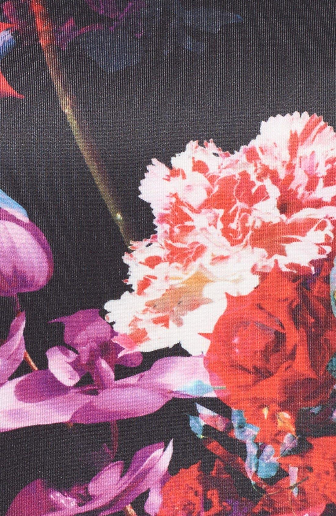Floral Print Knit Sheath Dress,                             Alternate thumbnail 4, color,                             006