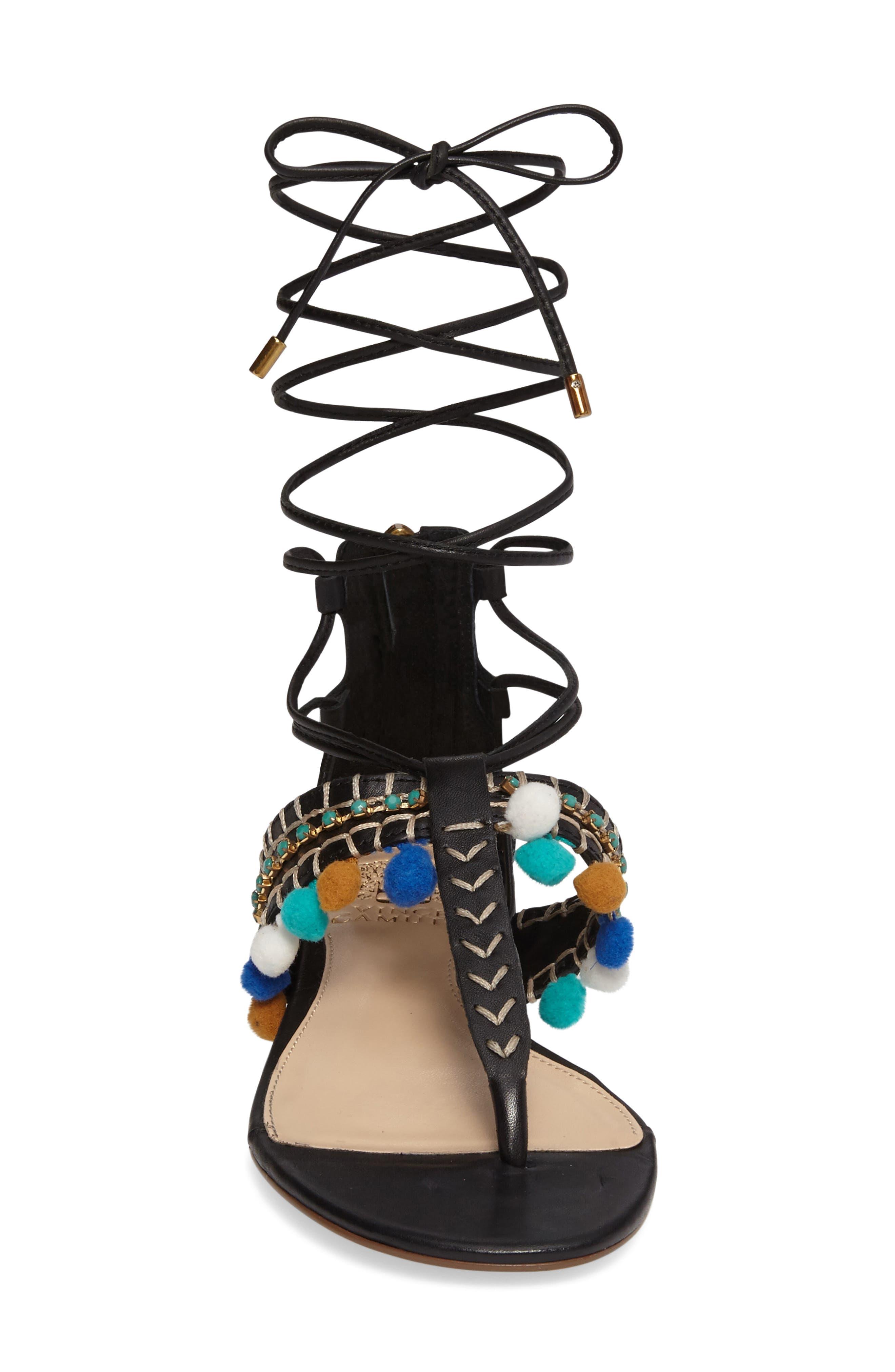 Balisa Embellished Lace-Up Sandal,                             Alternate thumbnail 3, color,                             001