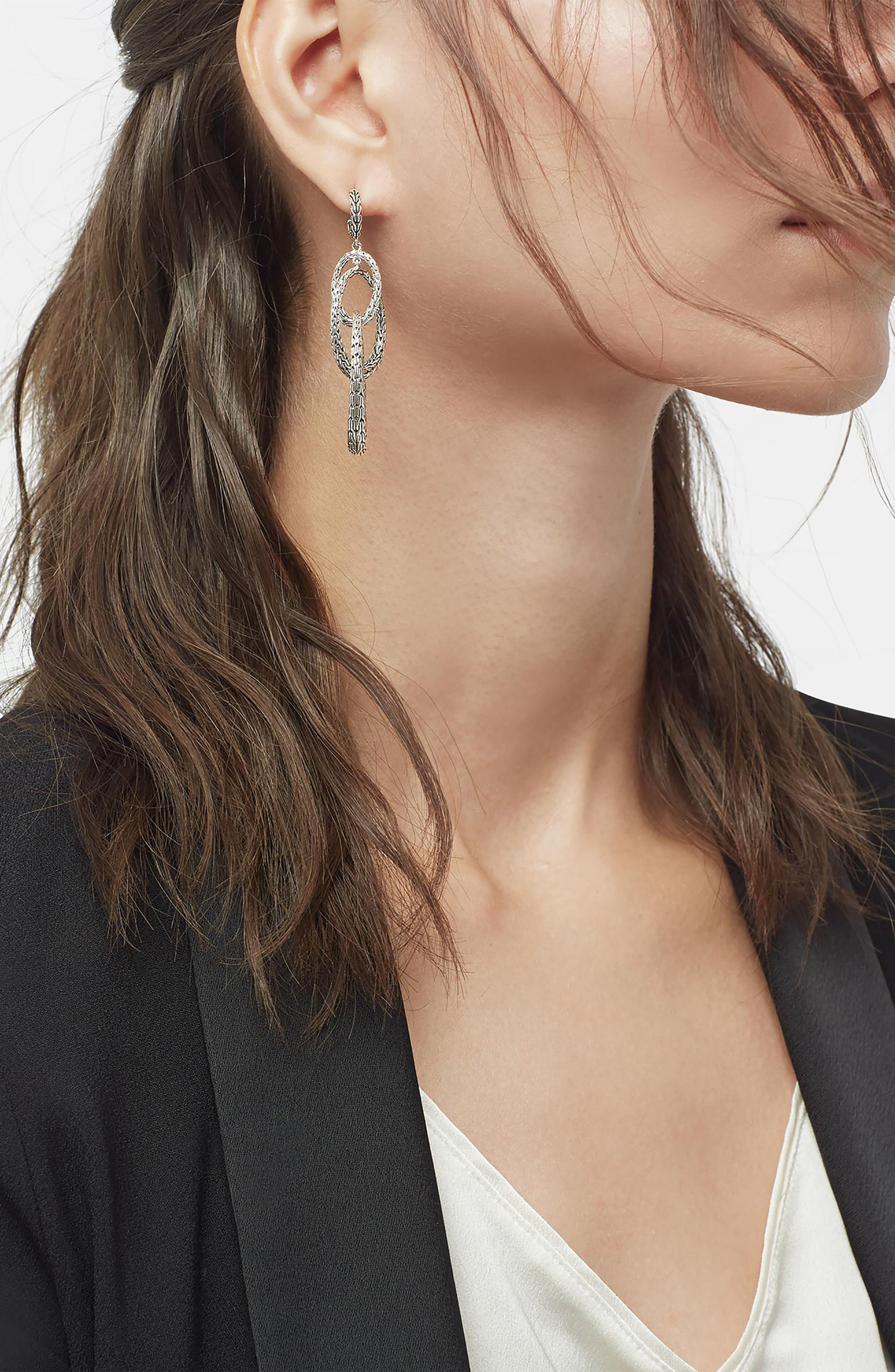 Classic Chain Drop Earrings,                             Alternate thumbnail 2, color,                             SILVER
