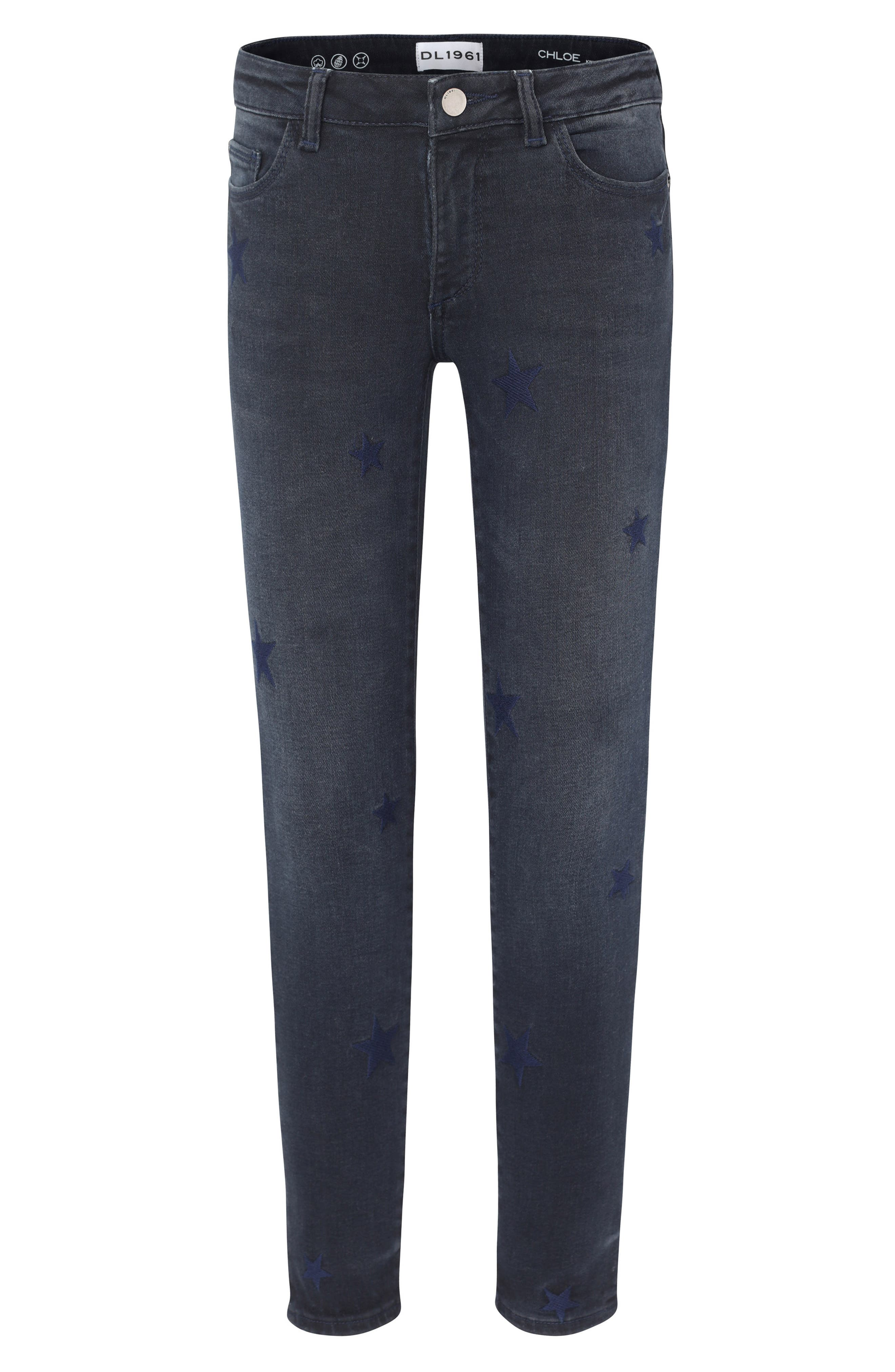 Star Embroidered Skinny Jeans,                             Main thumbnail 1, color,                             STARSTRUCK