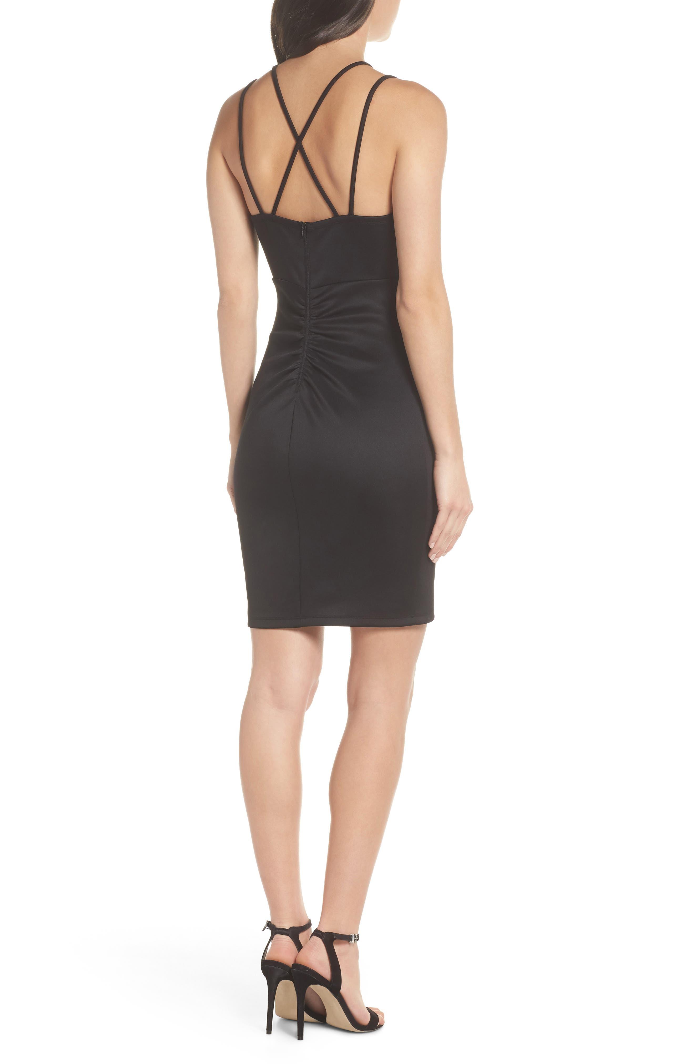 Double Strap Scuba Body-Con Dress,                             Alternate thumbnail 2, color,                             BLACK