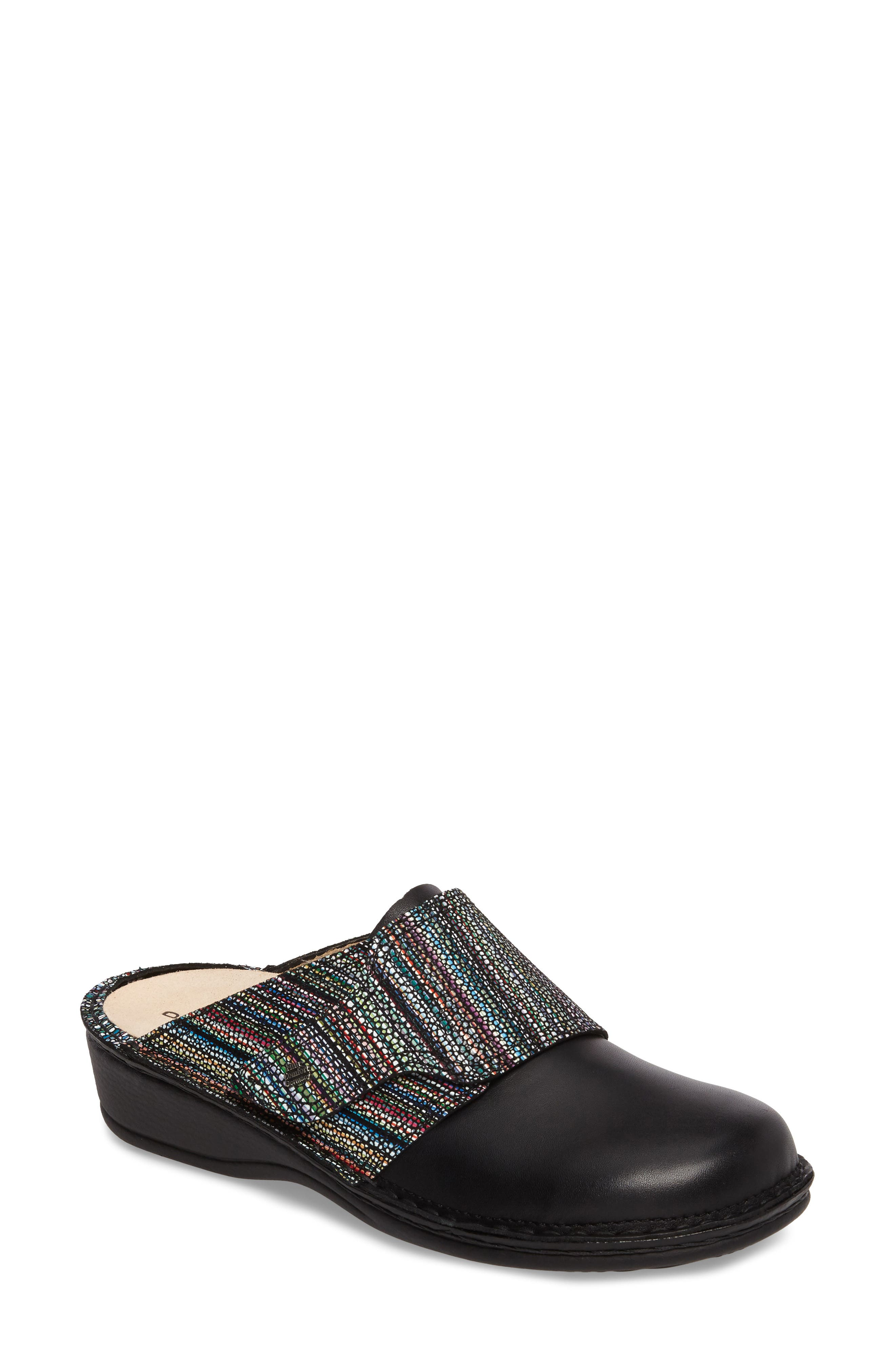 Aussee Clog,                             Main thumbnail 1, color,                             BLACK LEATHER