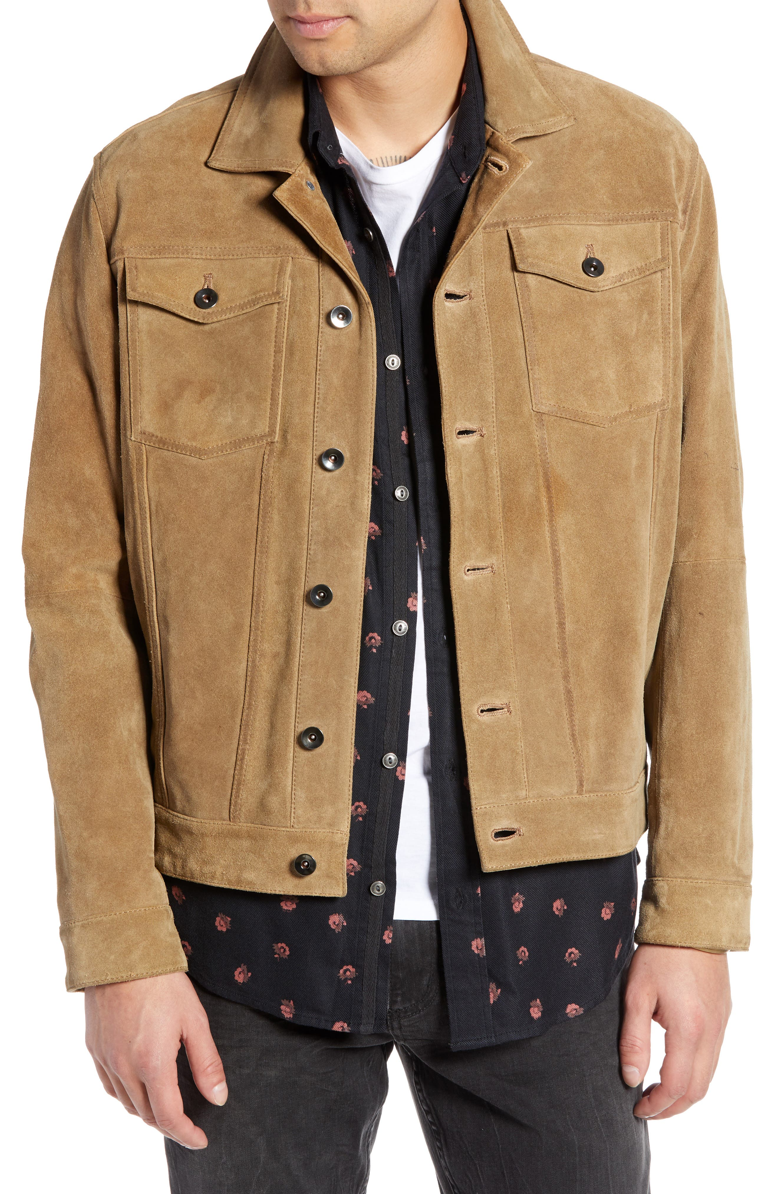 Suede Trucker Jacket,                             Main thumbnail 1, color,                             BROWN OTTER