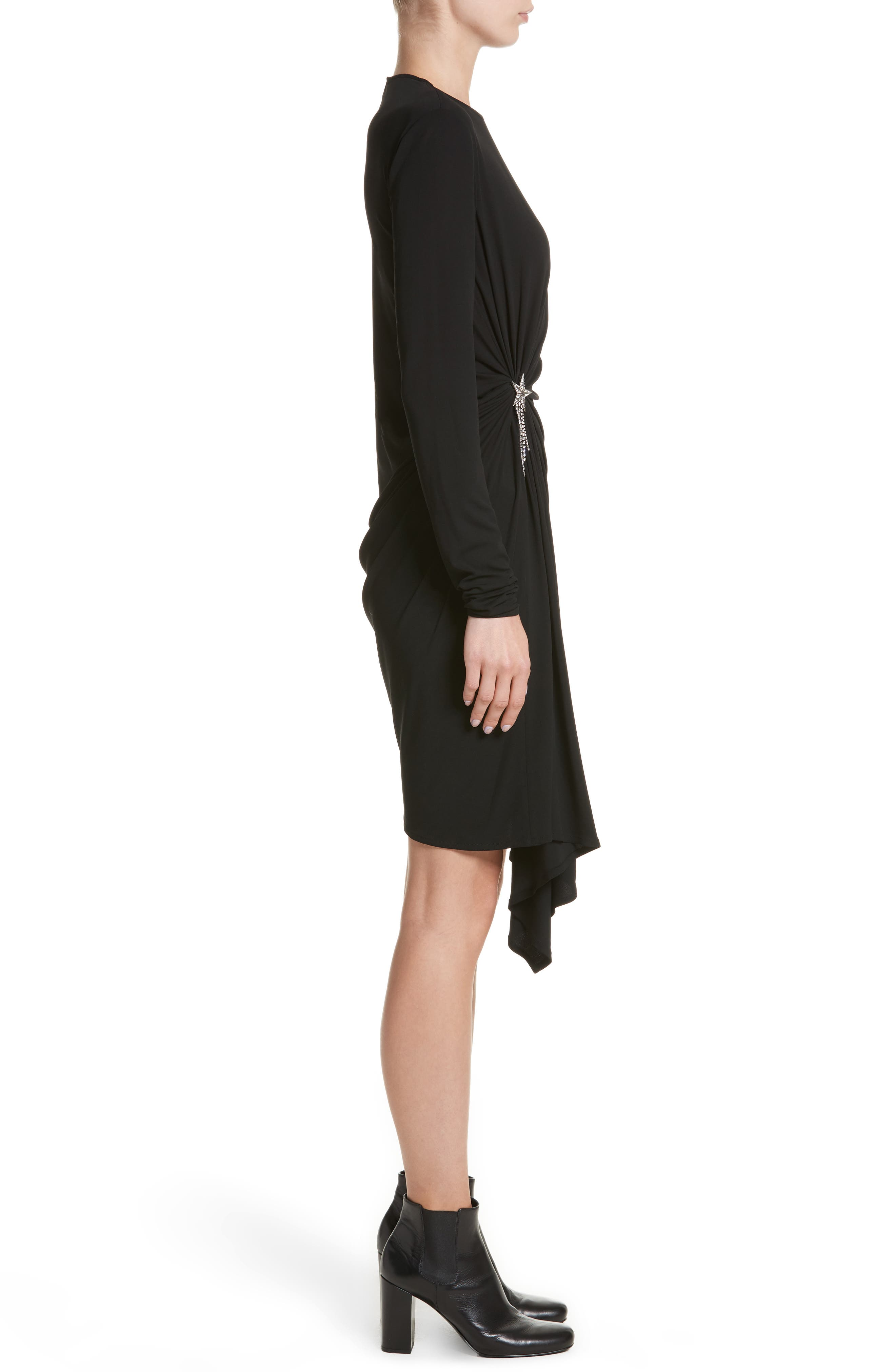 Ruched Side Drape Jersey Dress,                             Alternate thumbnail 3, color,                             001