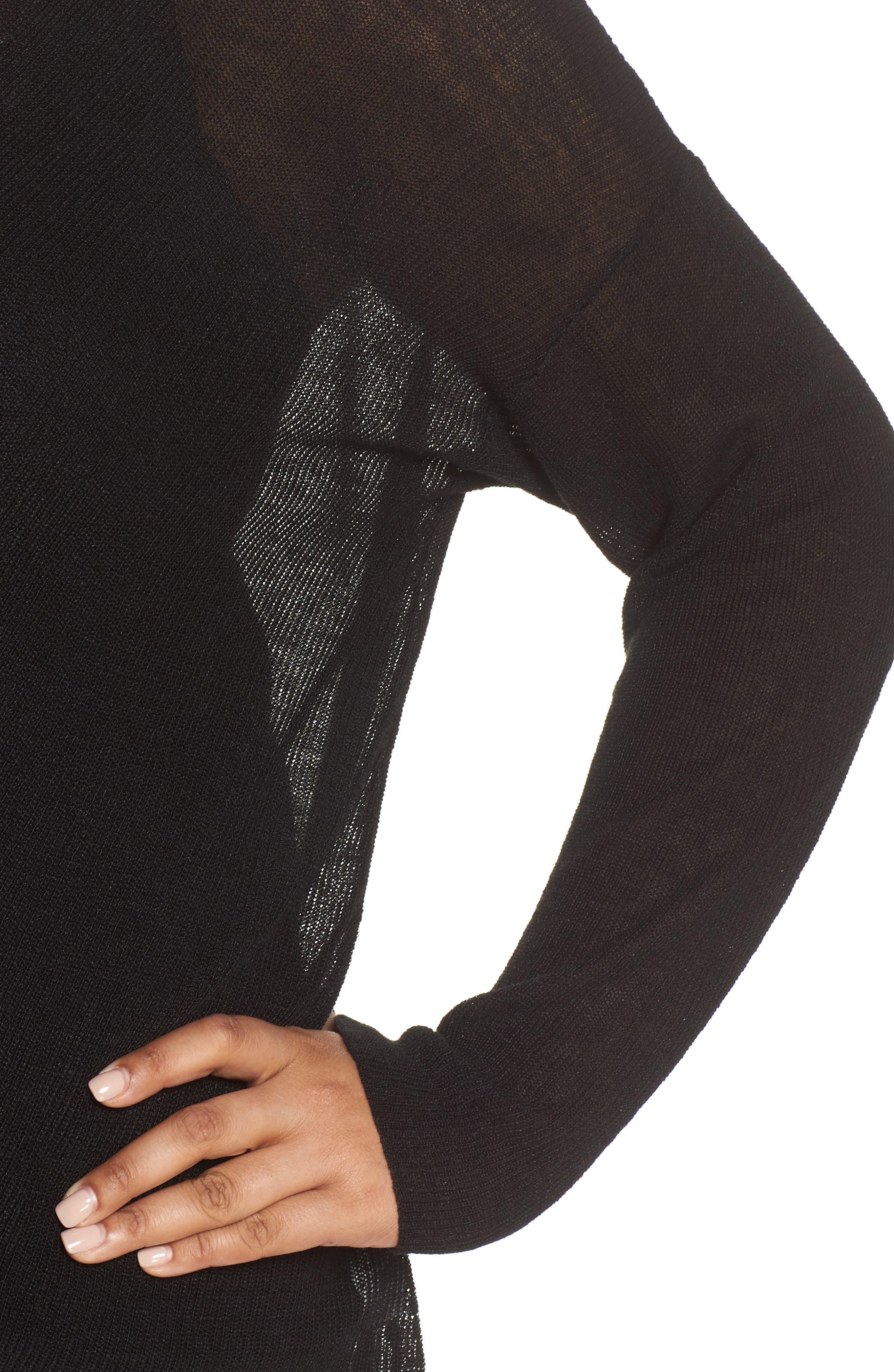 Boxy Organic Linen Blend Sweater,                             Alternate thumbnail 4, color,                             001