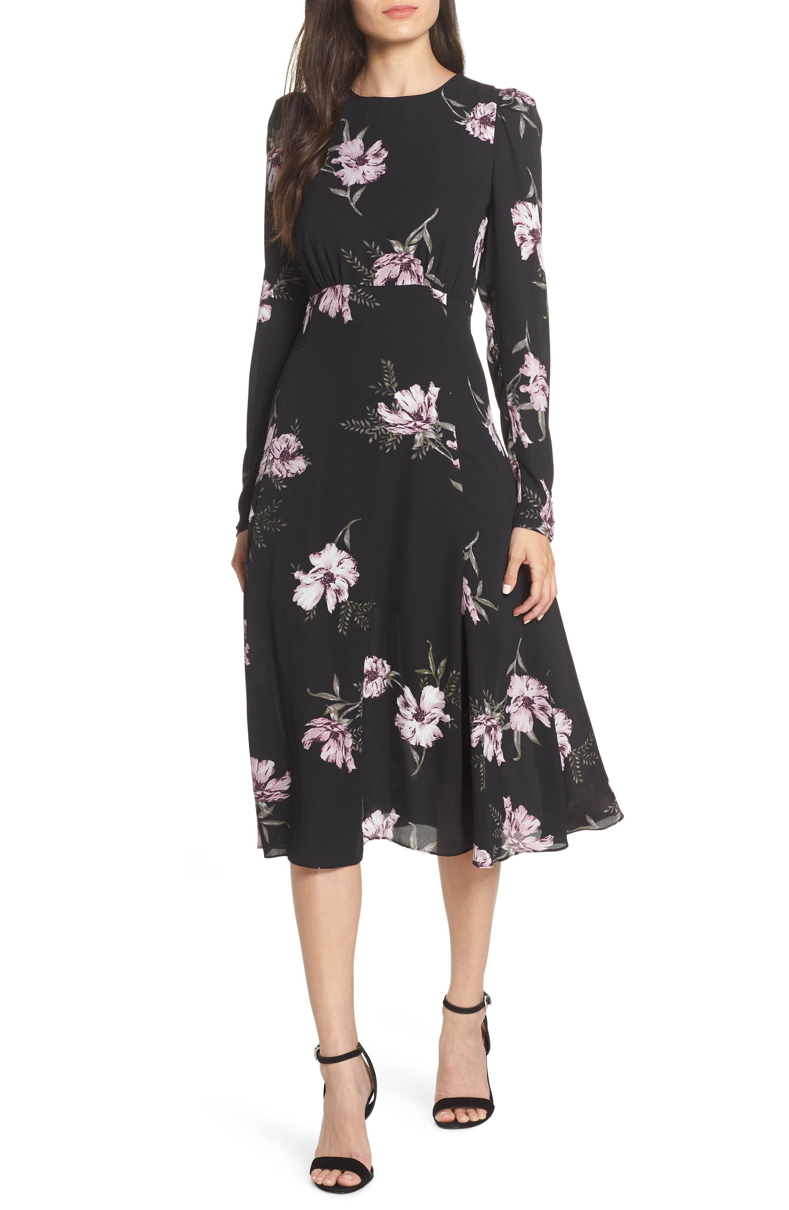 Chelsea28 Floral Print Midi Dress, Black