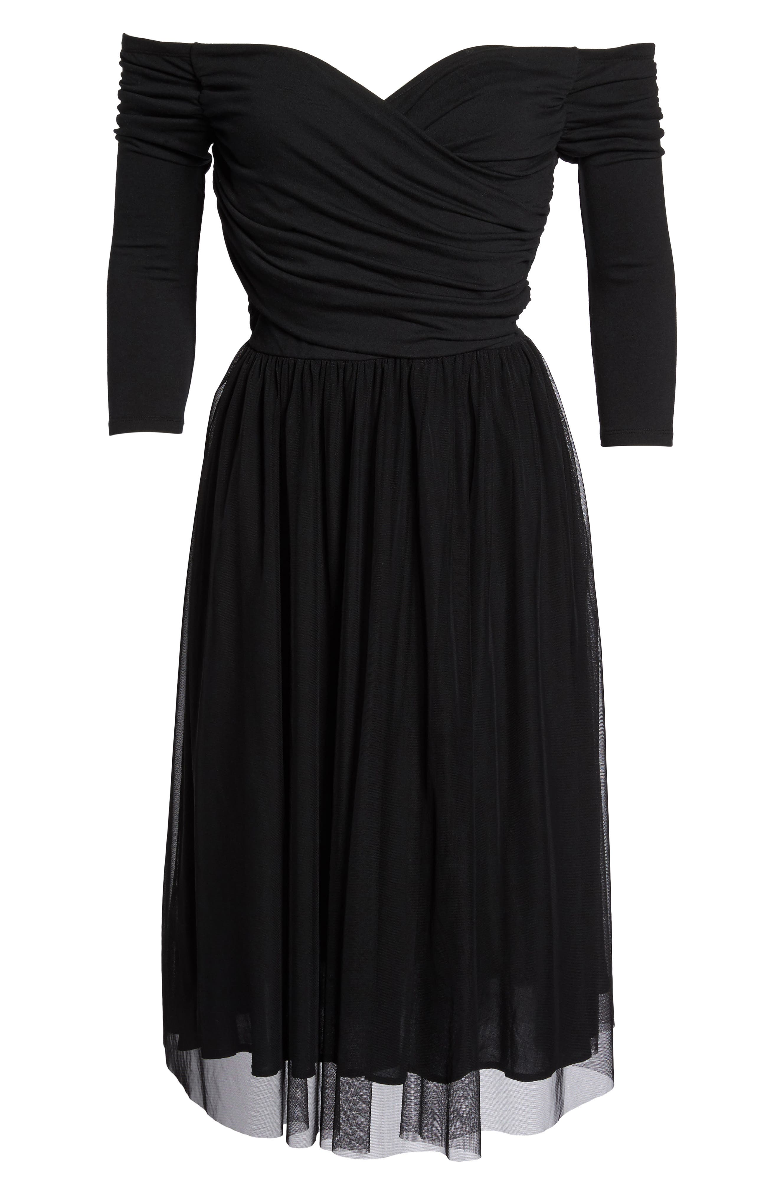 Tulle Fit & Flare Dress,                             Alternate thumbnail 6, color,                             001