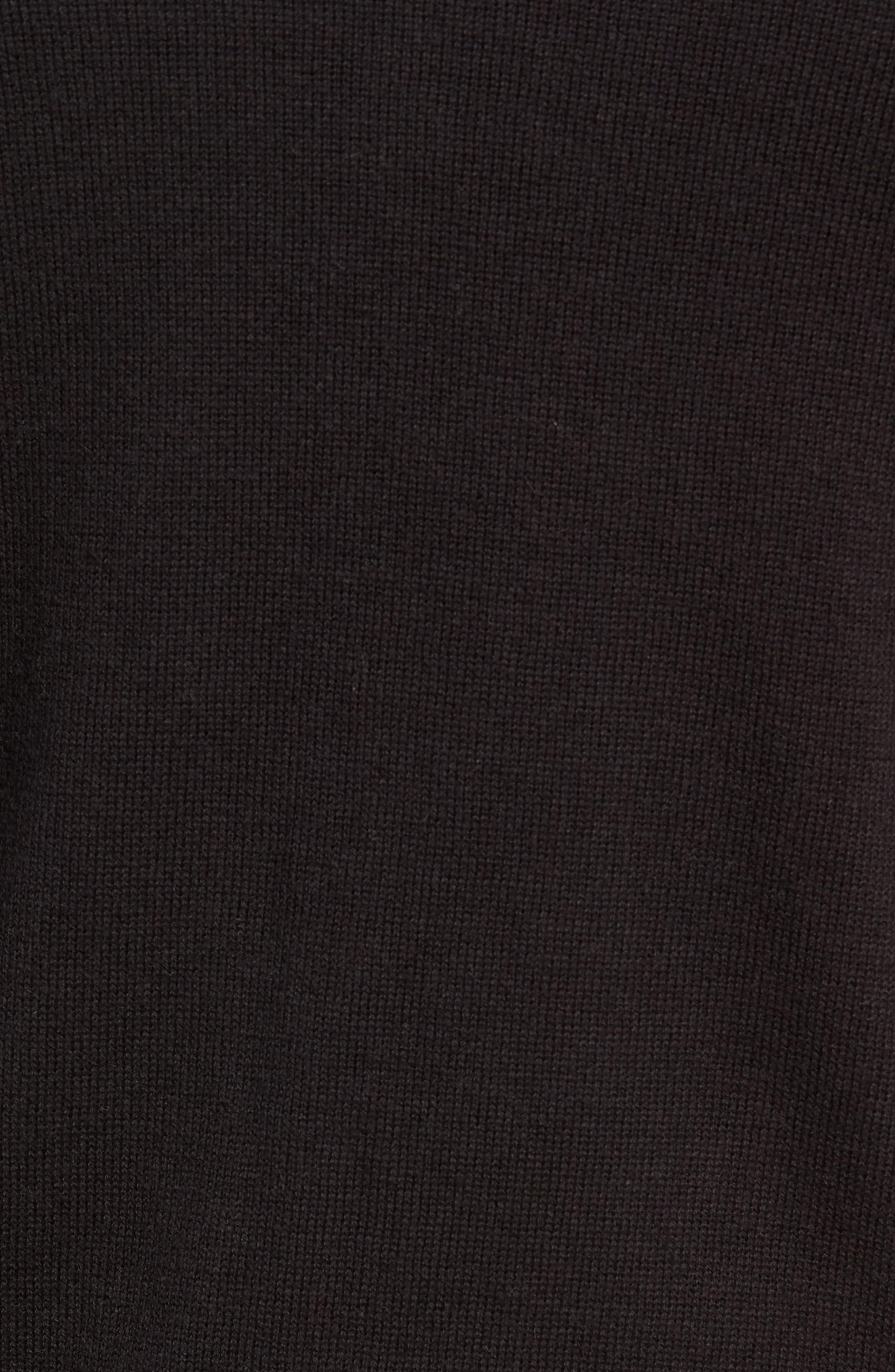 Palm Beach Quarter-Zip Sweater,                             Alternate thumbnail 5, color,                             JET BLACK