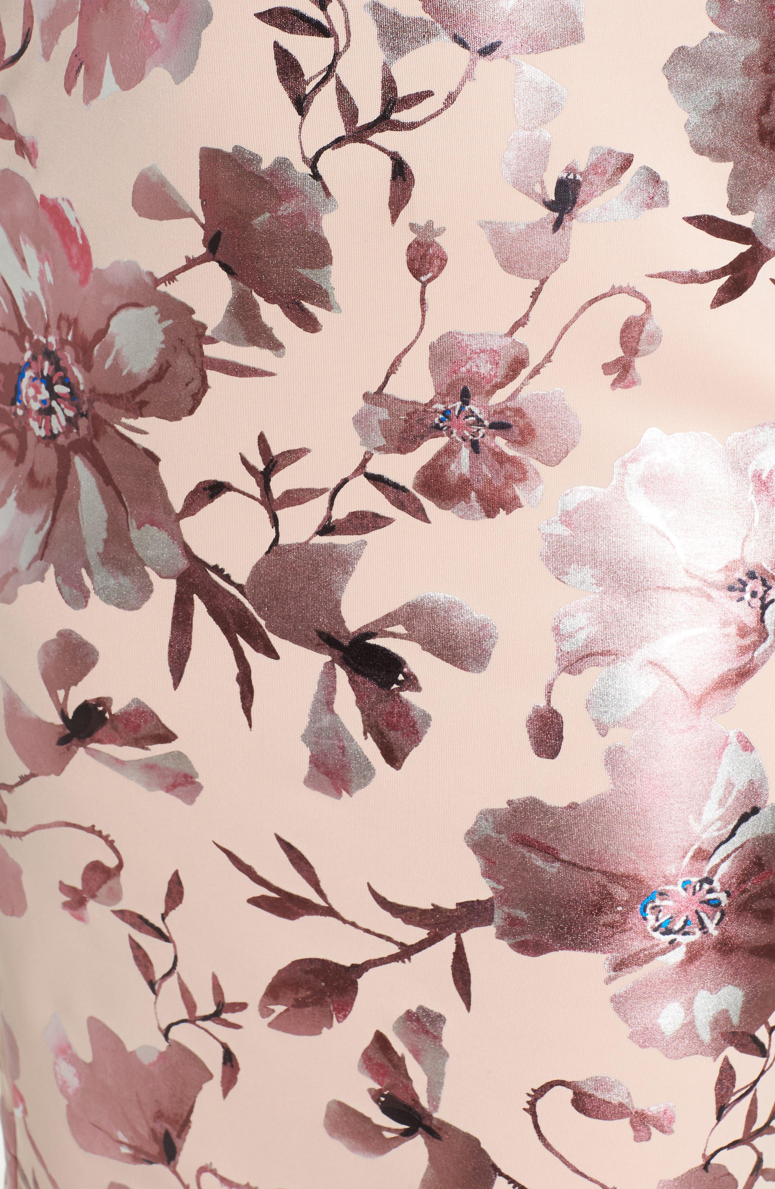 Foil Print Sheath Dress,                             Alternate thumbnail 5, color,                             650
