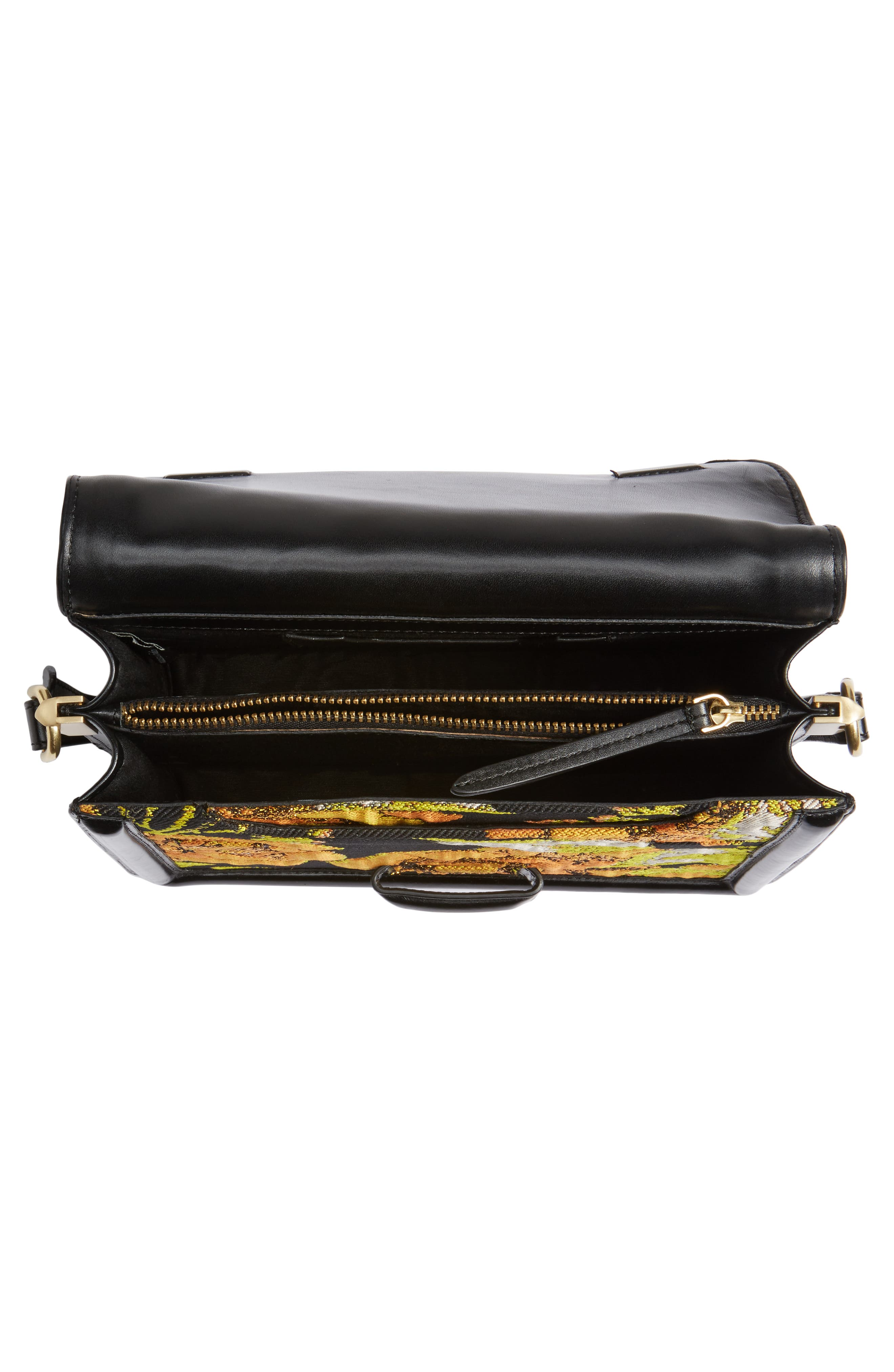 DRIES VAN NOTEN,                             Floral Jacquard & Leather Crossbody Bag,                             Alternate thumbnail 4, color,                             700