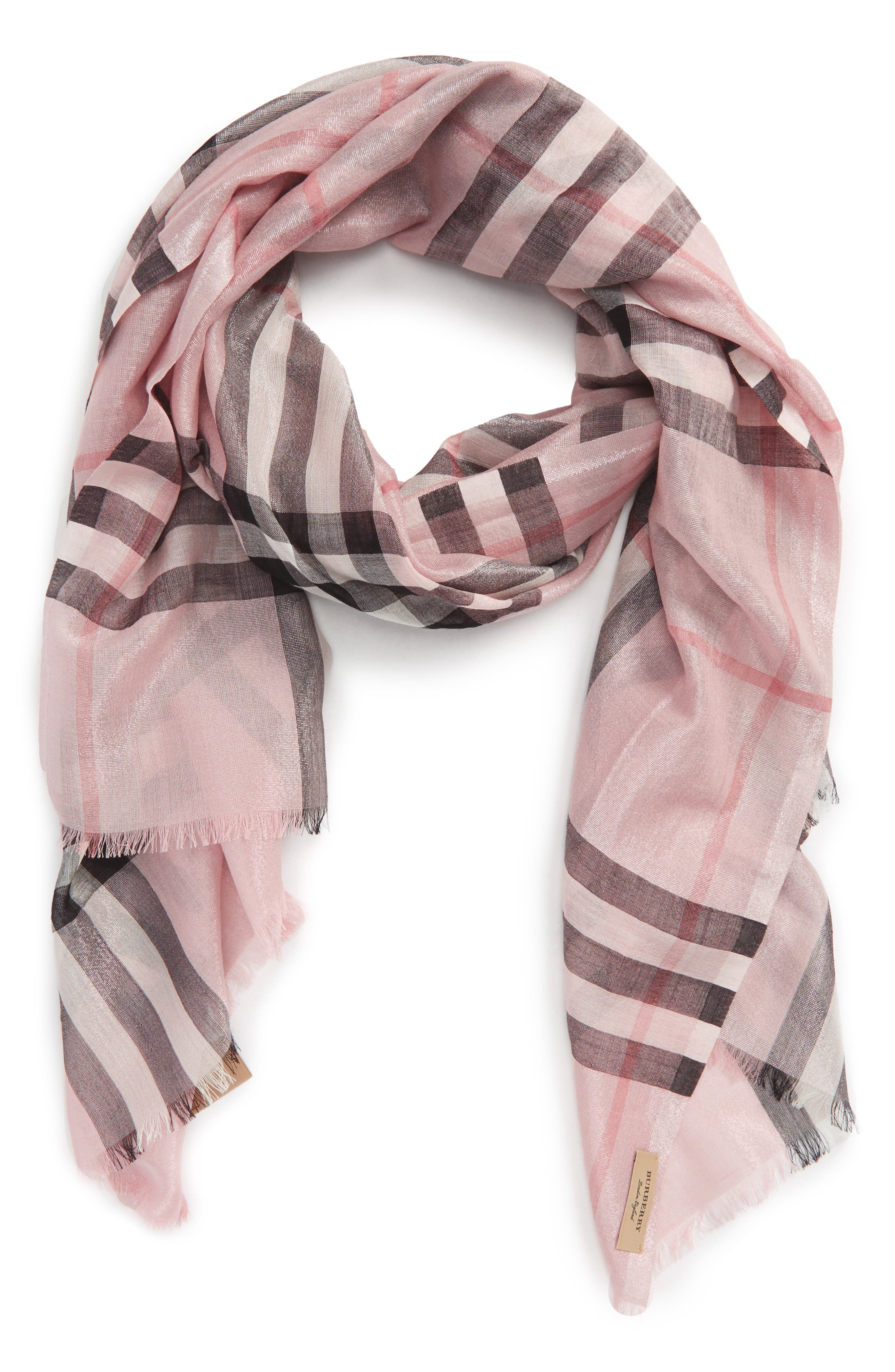 Metallic Giant Check Scarf,                         Main,                         color, ASH ROSE/ SILVER