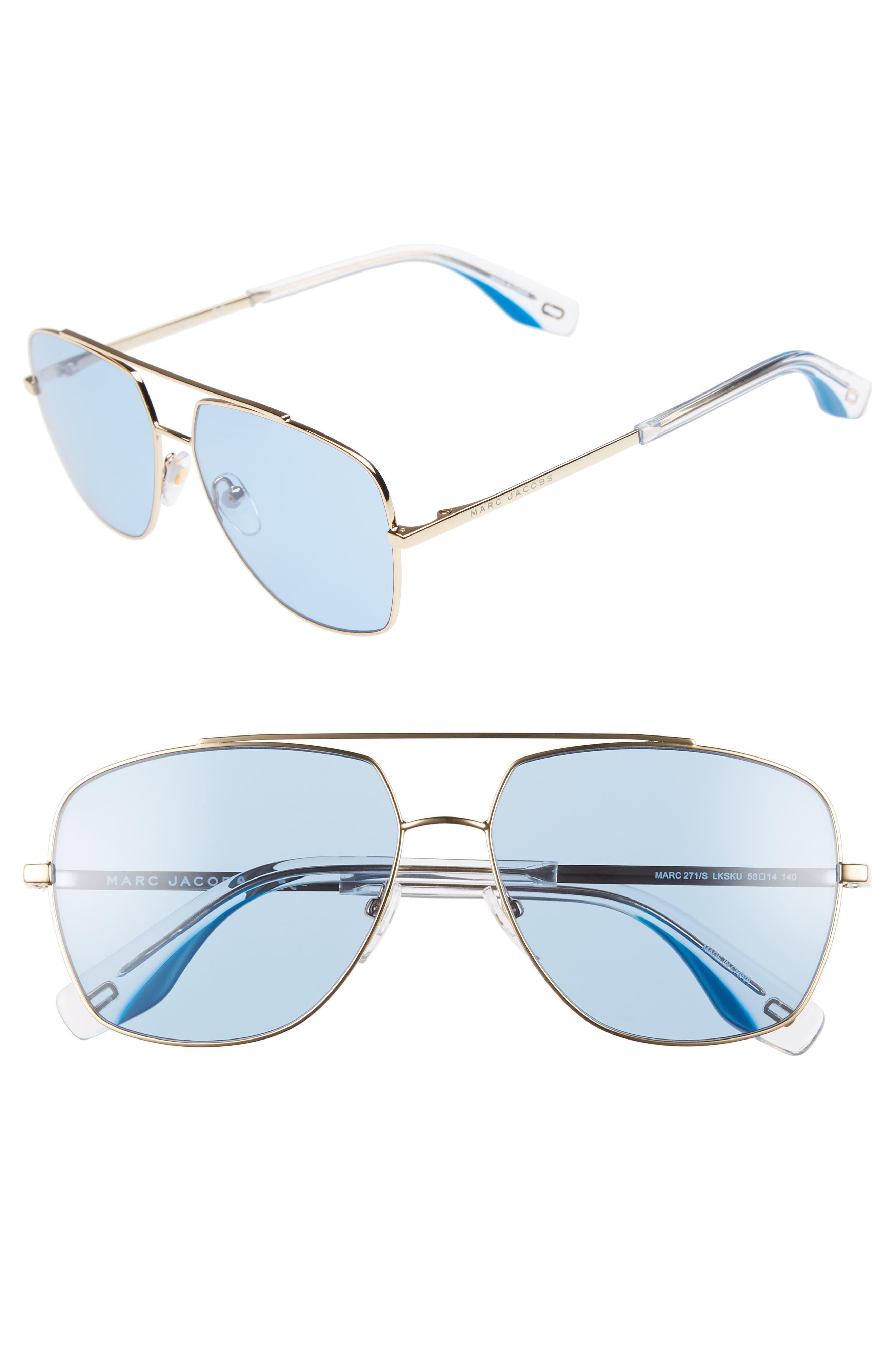 Women'S Brow Bar Aviator Sunglasses, 58Mm in Gold/ Blue