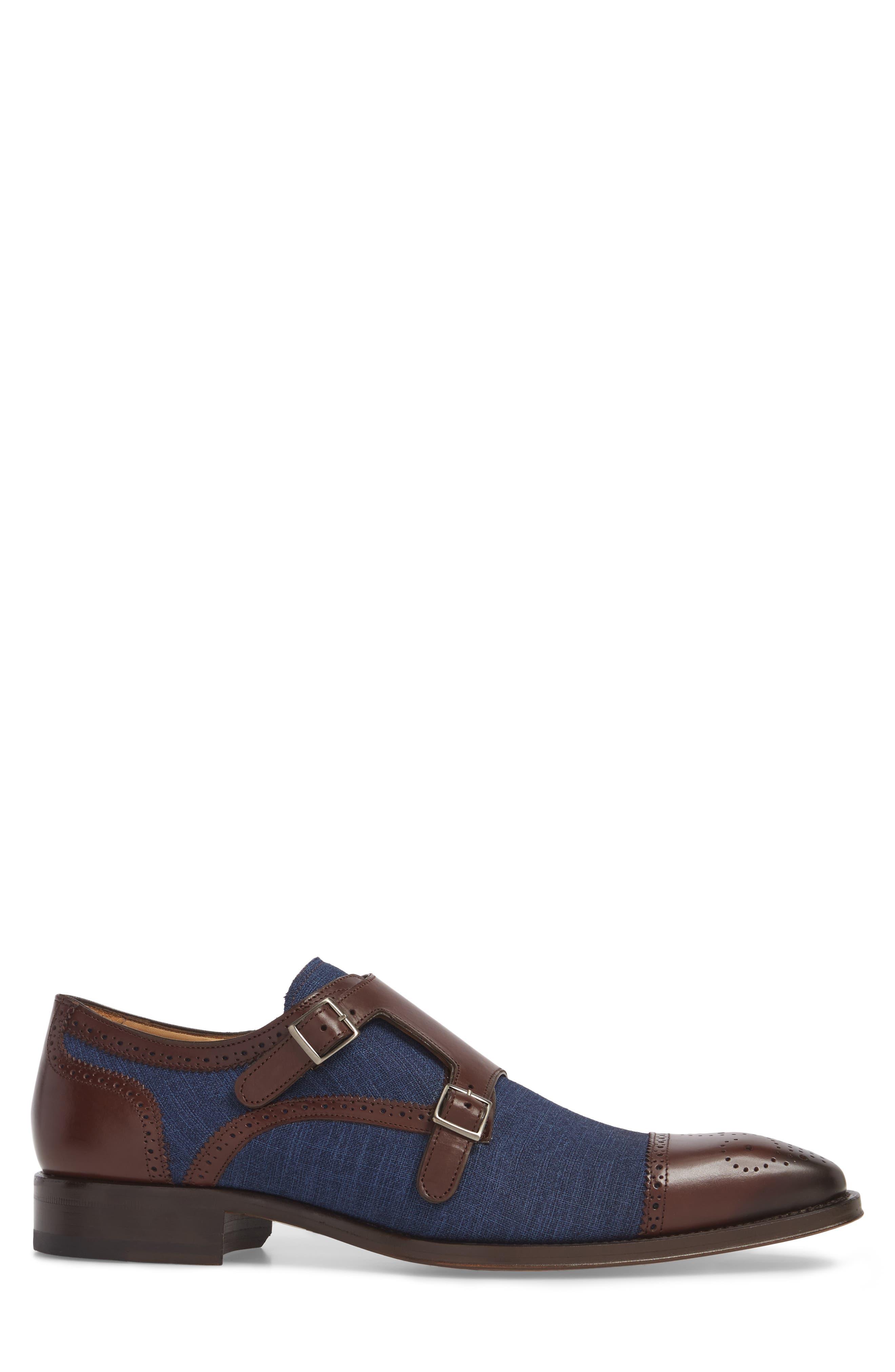 Cupido Double Monk Strap Cap Toe Shoe,                             Alternate thumbnail 3, color,                             BROWN/ BLUE LEATHER