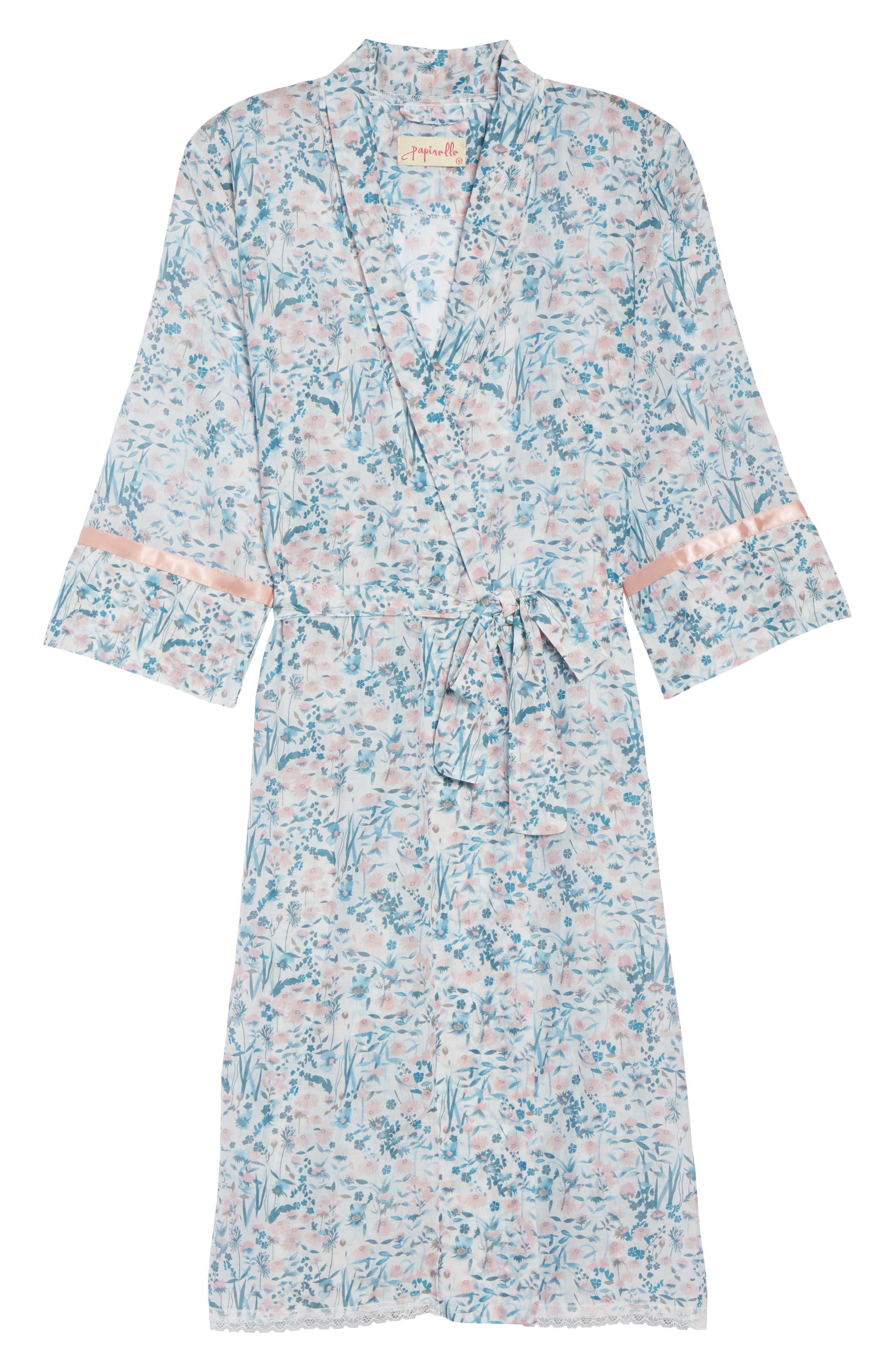 Ellie Floral Robe,                             Alternate thumbnail 6, color,                             BLUE