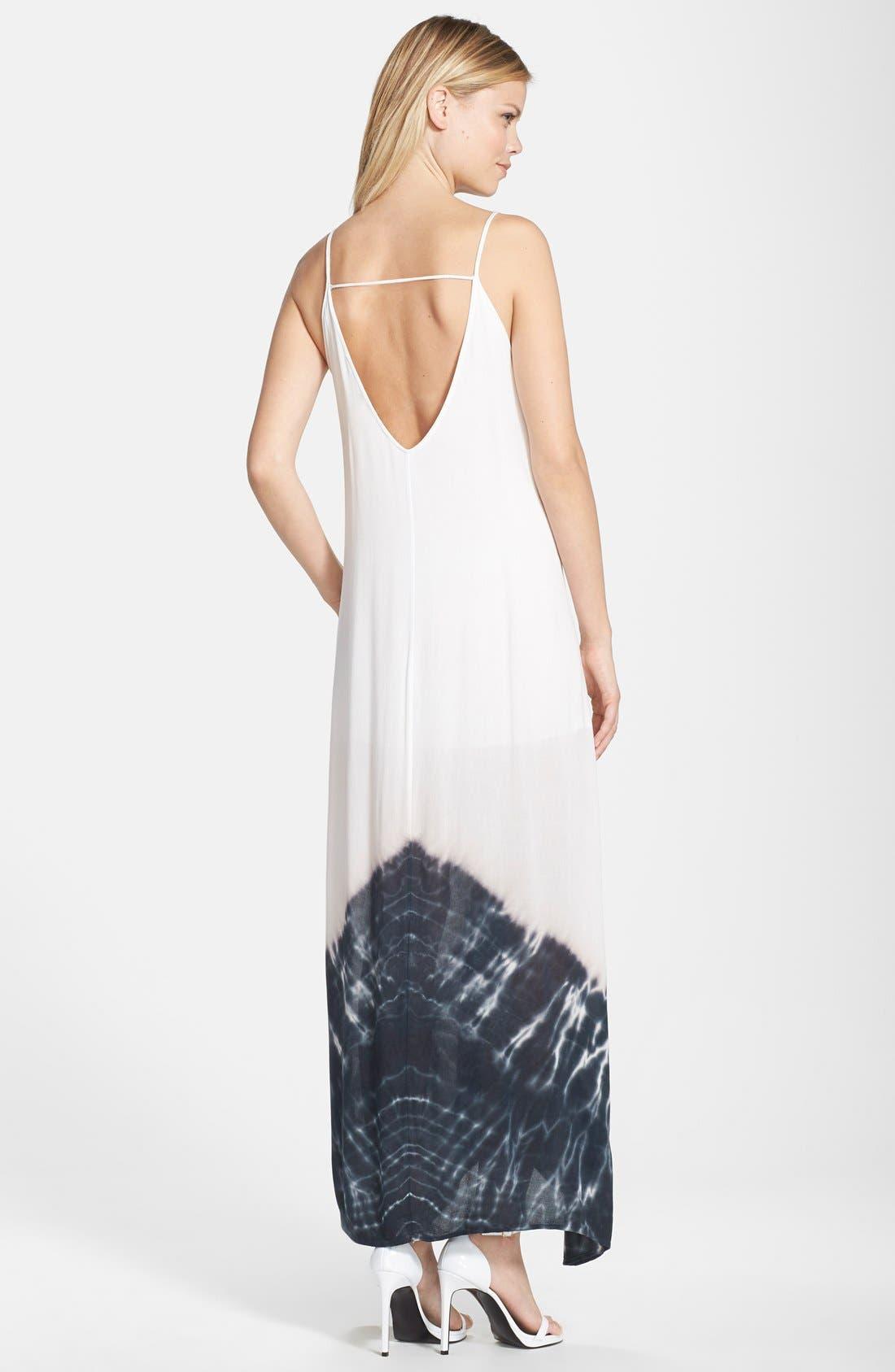 Border Print Crepe A-Line Maxi Dress,                             Alternate thumbnail 9, color,                             100