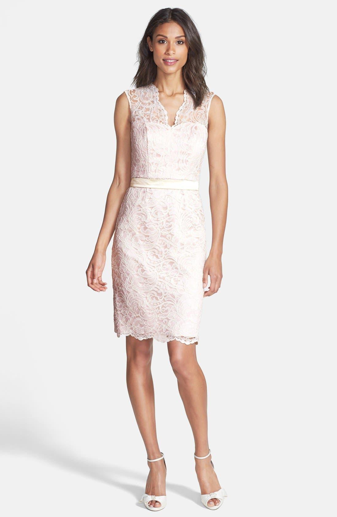 Lace Overlay Matte Satin Dress,                             Alternate thumbnail 2, color,                             686