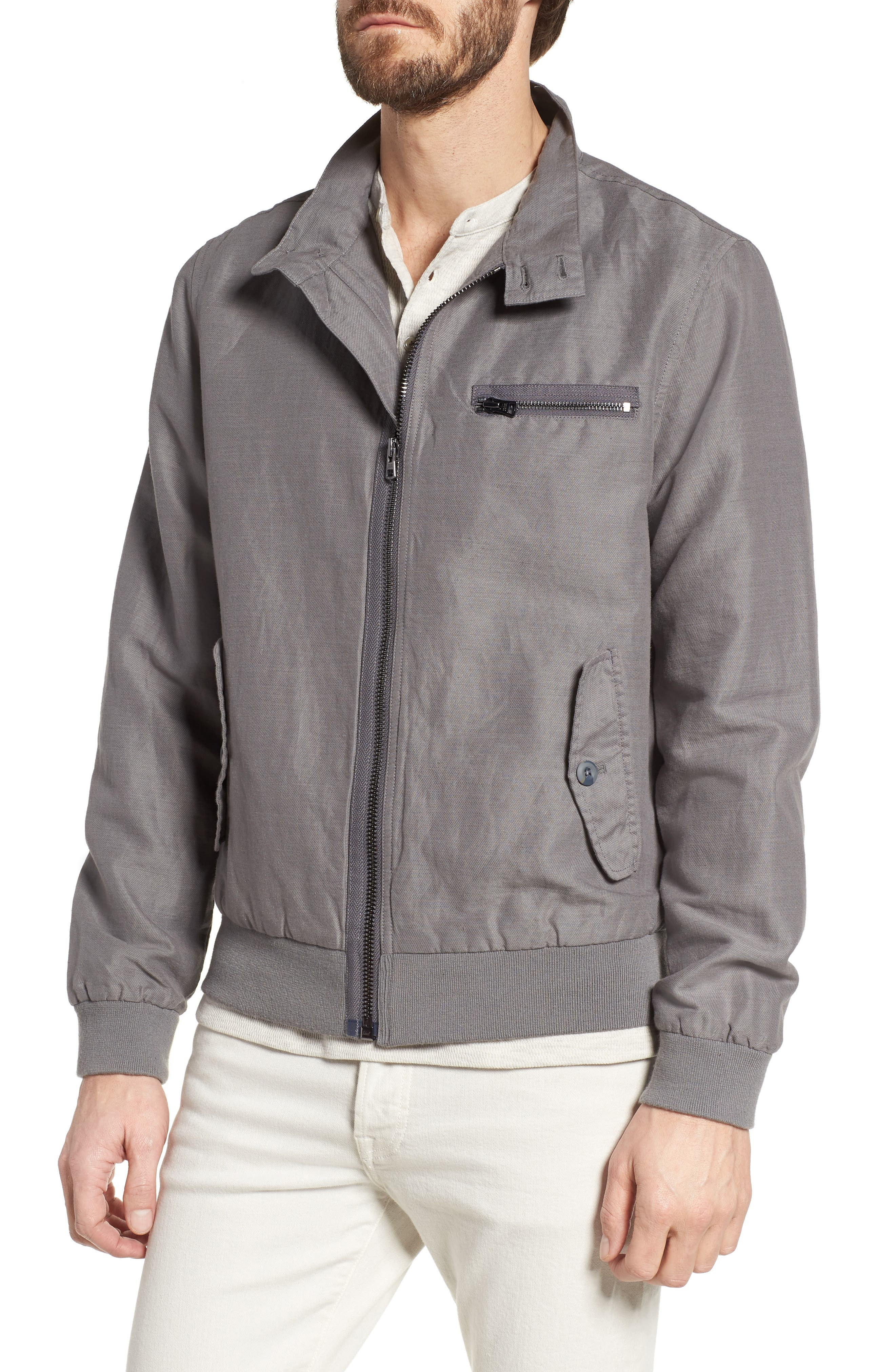 Harrington Linen & Cotton Jacket,                             Alternate thumbnail 4, color,                             SHADE