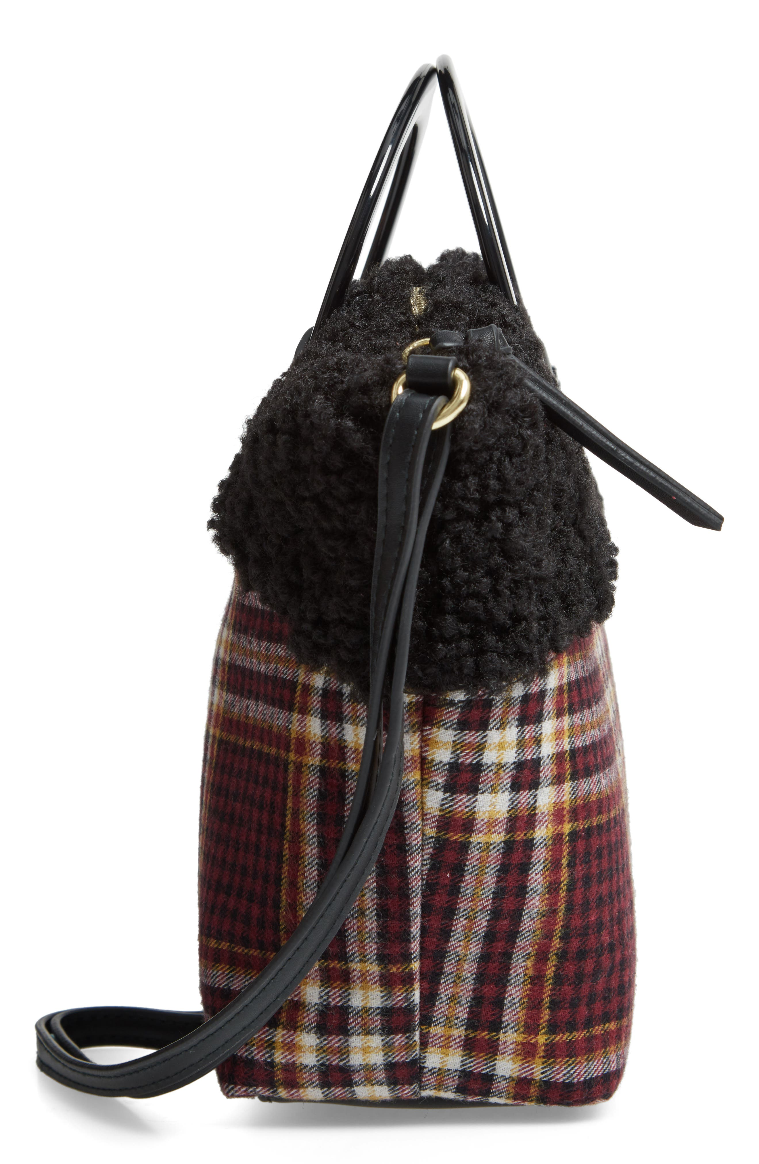 Ring Handle Plaid Tote with Faux Shearling Trim,                             Alternate thumbnail 5, color,                             605