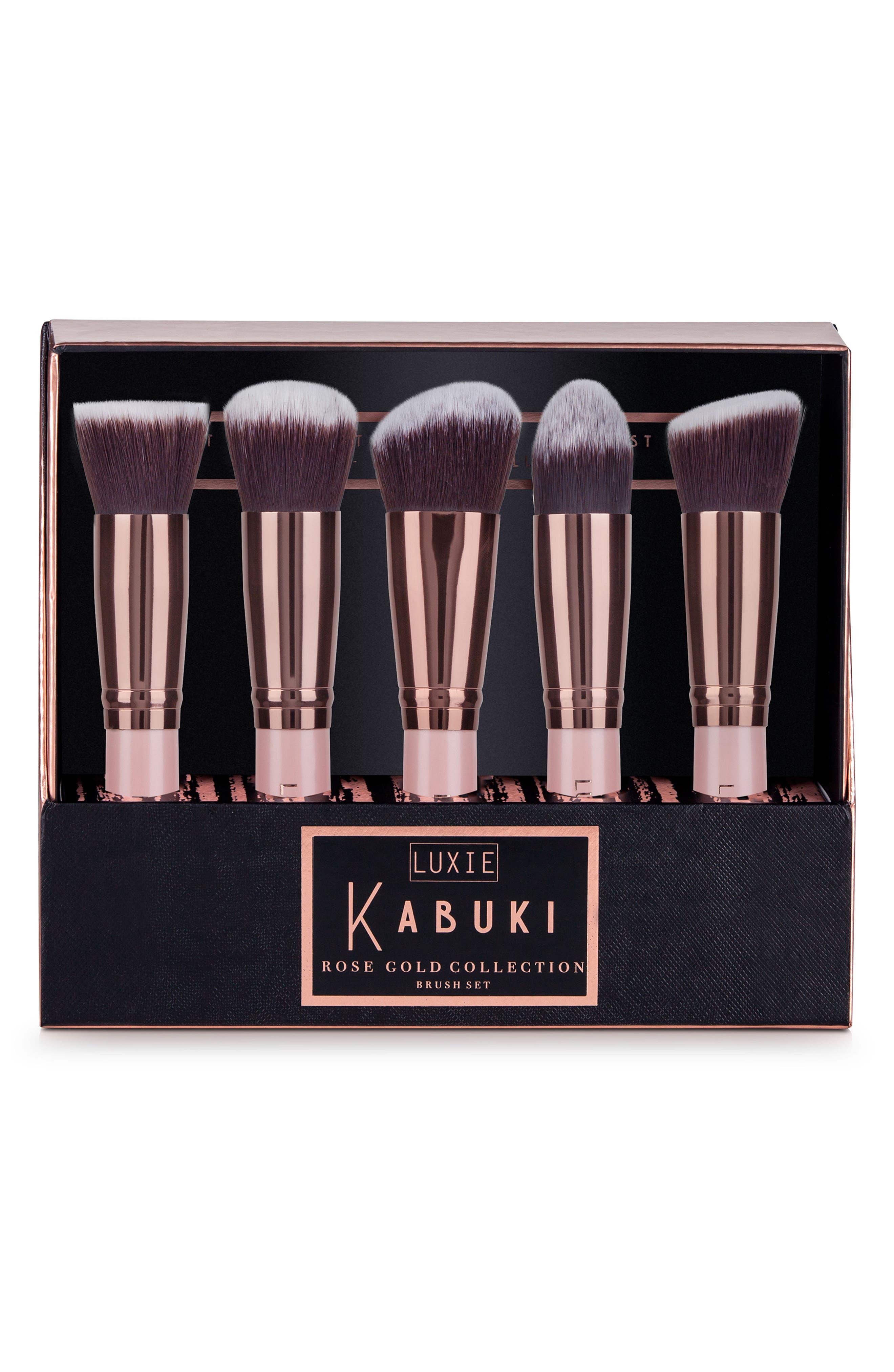 Rose Gold 5-Piece Kabuki Brush Set,                             Alternate thumbnail 3, color,                             NO COLOR