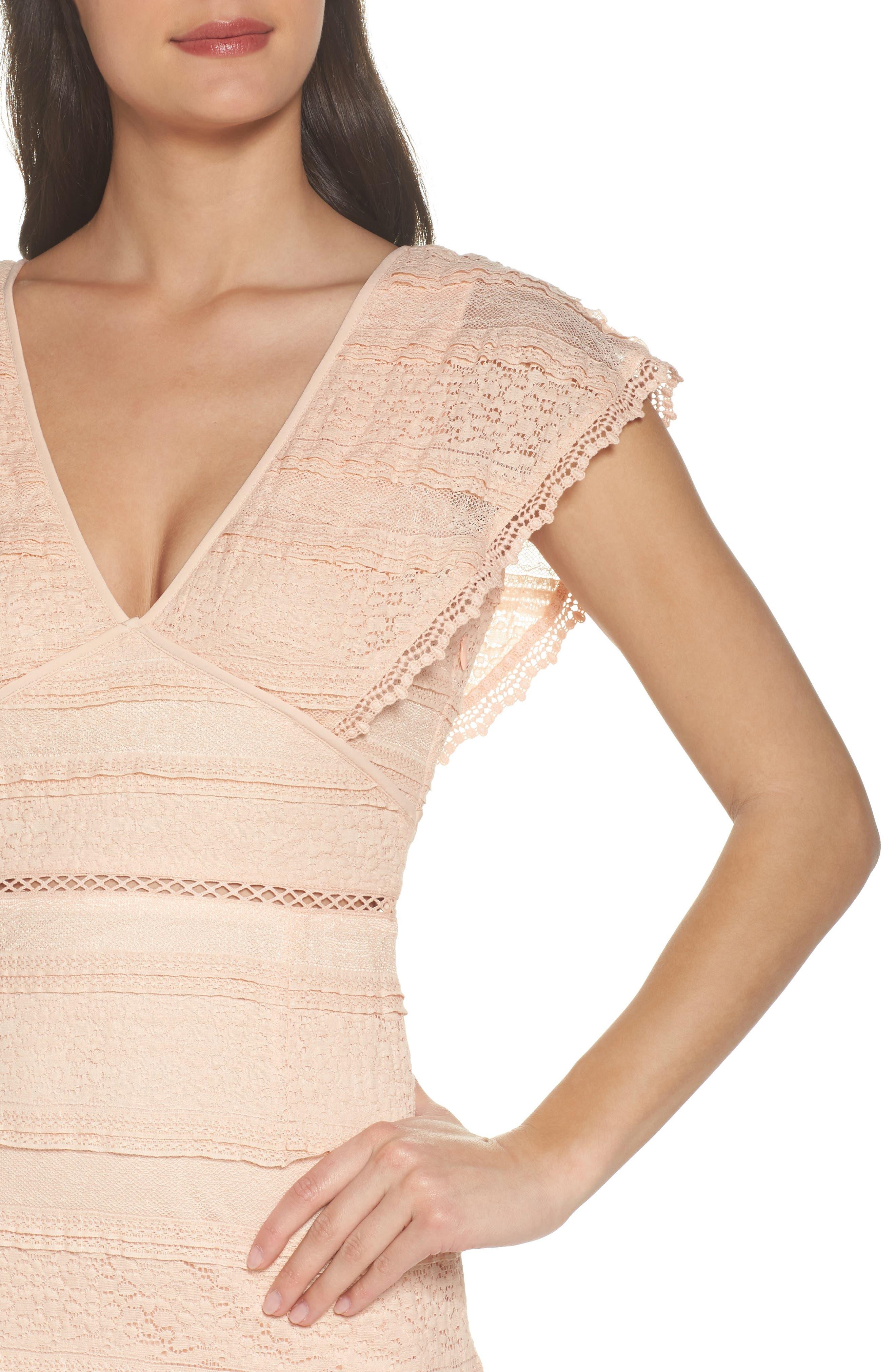 Makayla Flutter Trim Lace Sheath Dress,                             Alternate thumbnail 4, color,