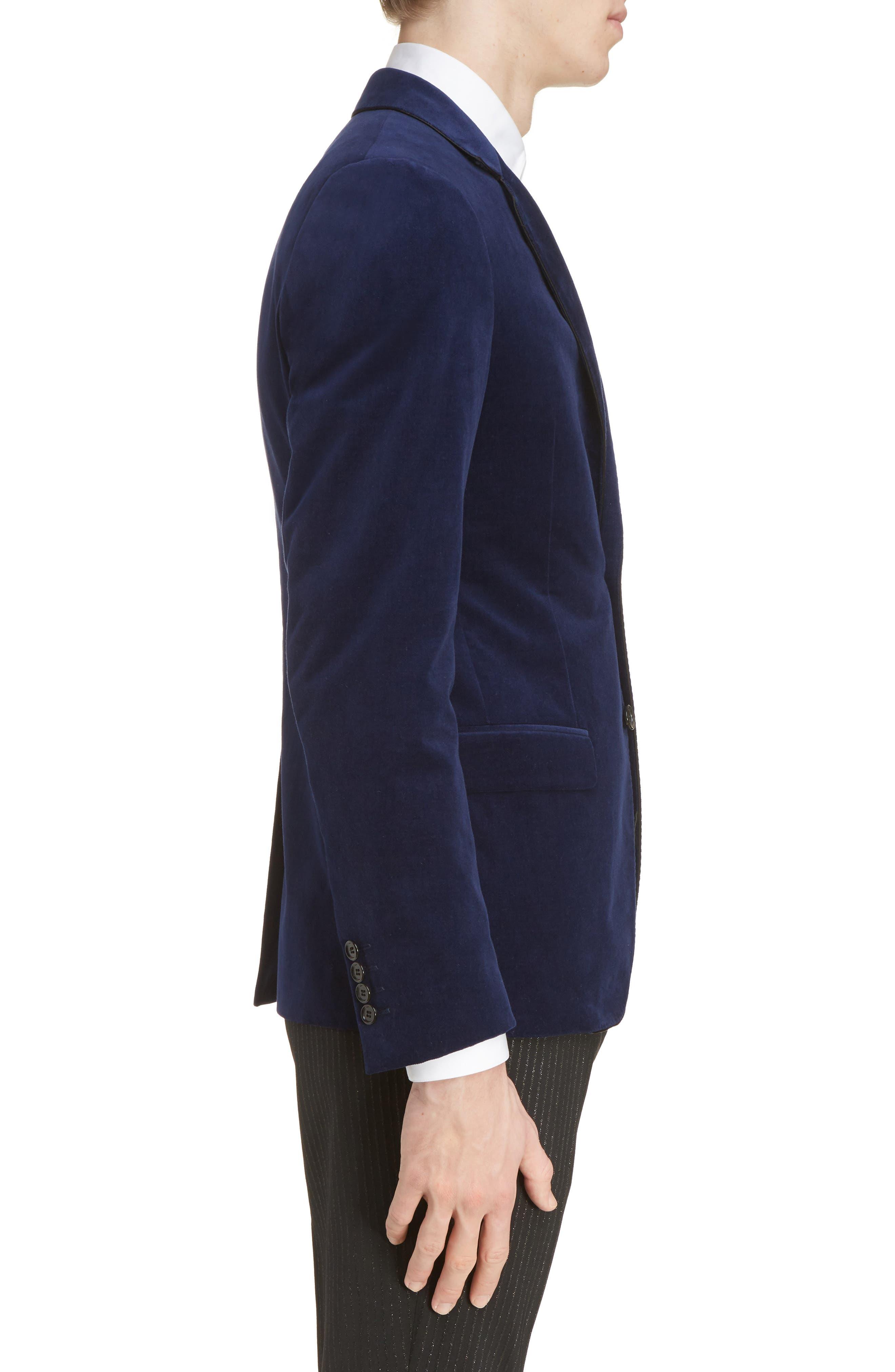 Extra Slim Fit Velvet Jacket,                             Alternate thumbnail 3, color,                             400