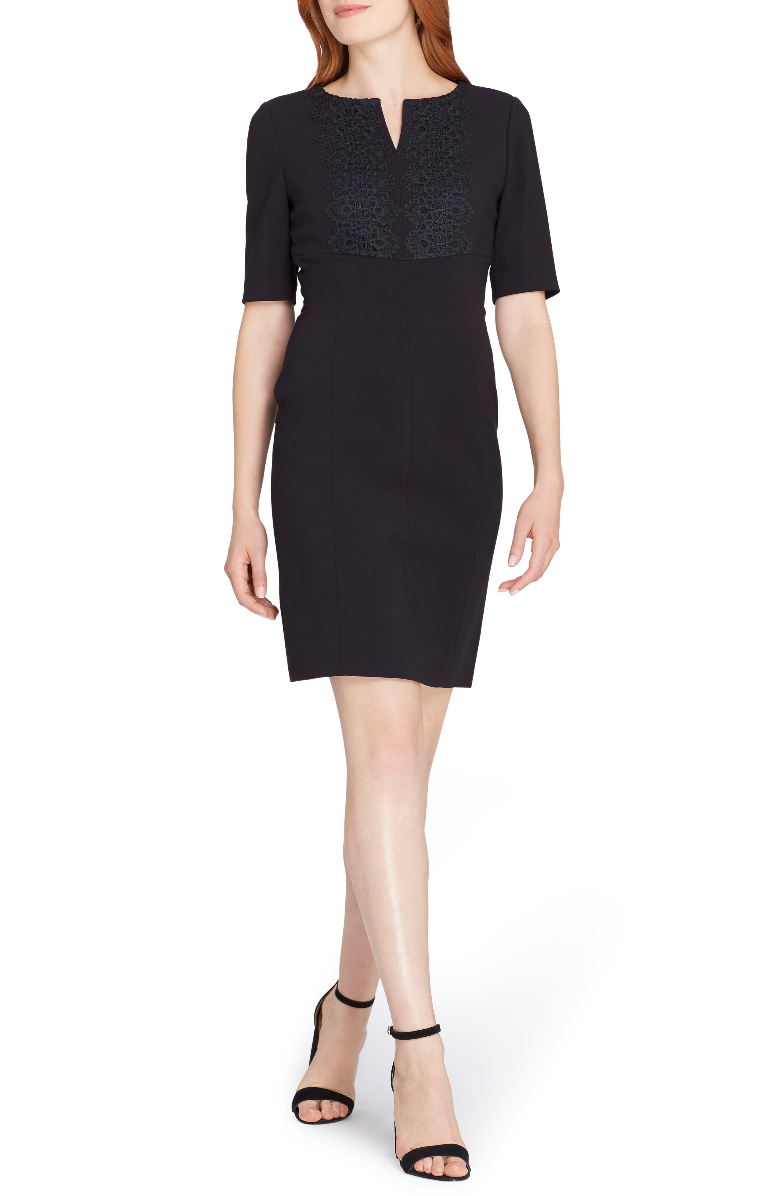 Lace Trim Sheath Dress,                             Main thumbnail 1, color,                             001