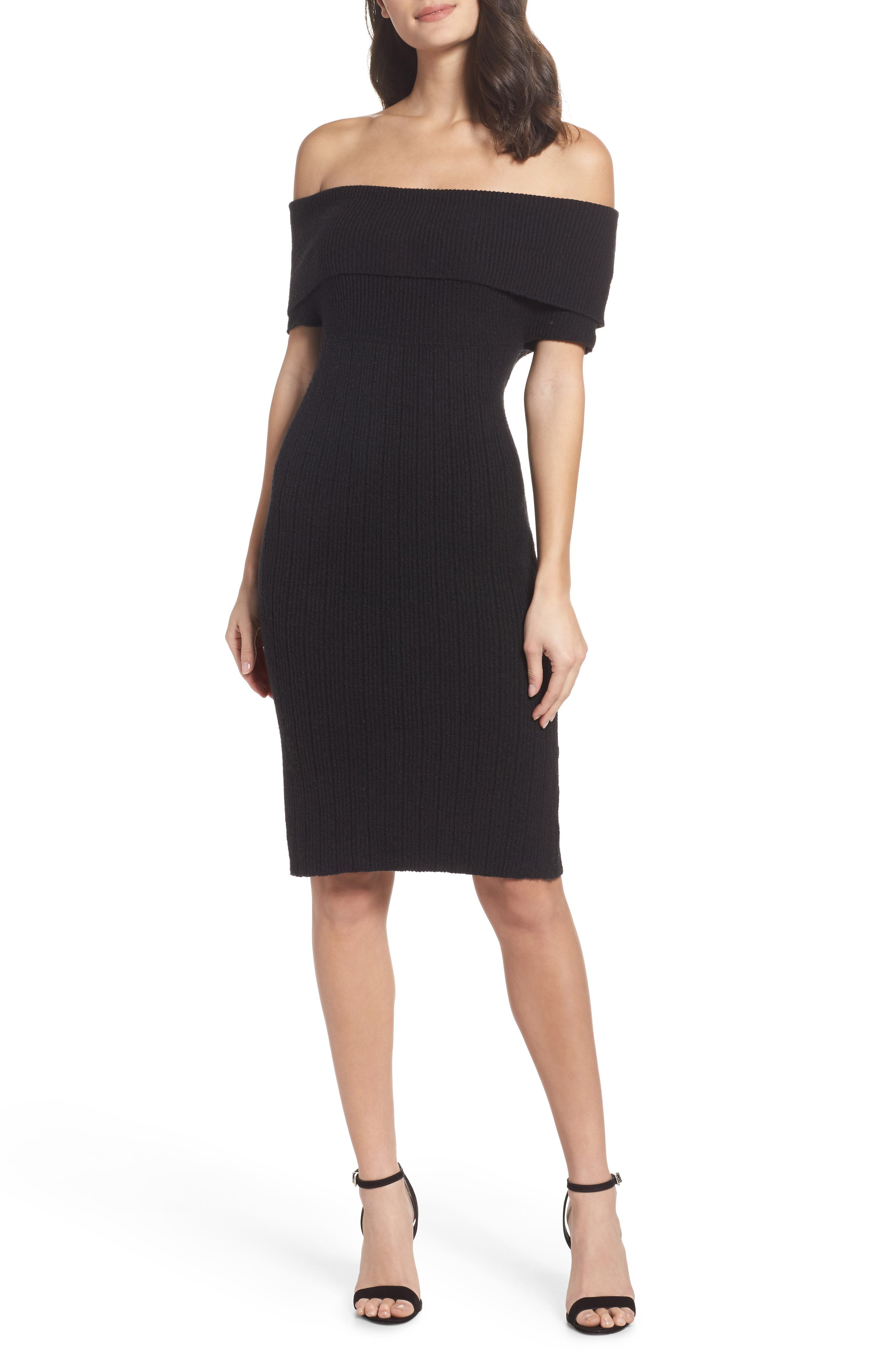 Porter Off the Shoulder Sheath Dress,                             Main thumbnail 1, color,