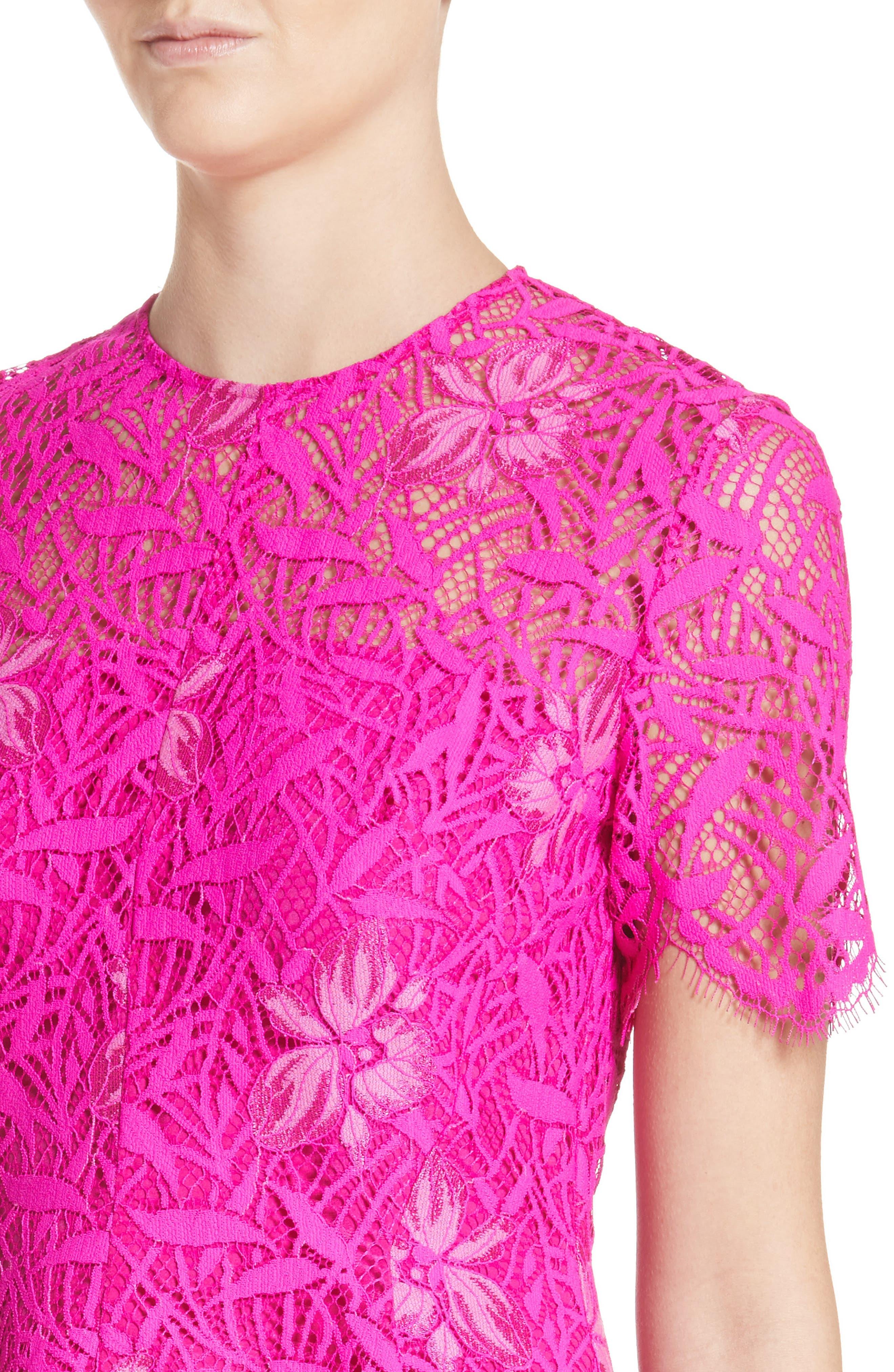 Floral Lace Peplum Top,                             Alternate thumbnail 4, color,