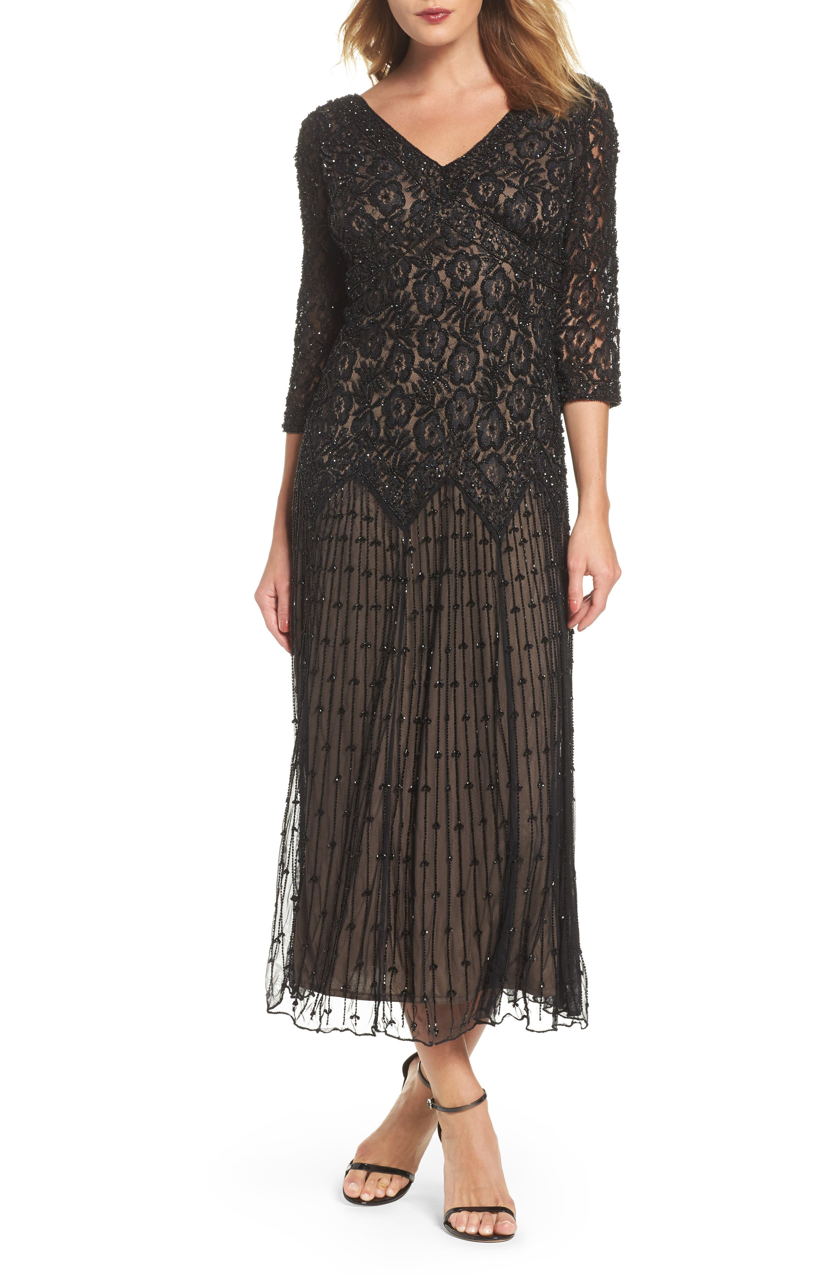 Beaded Mesh Dress,                         Main,                         color, 001