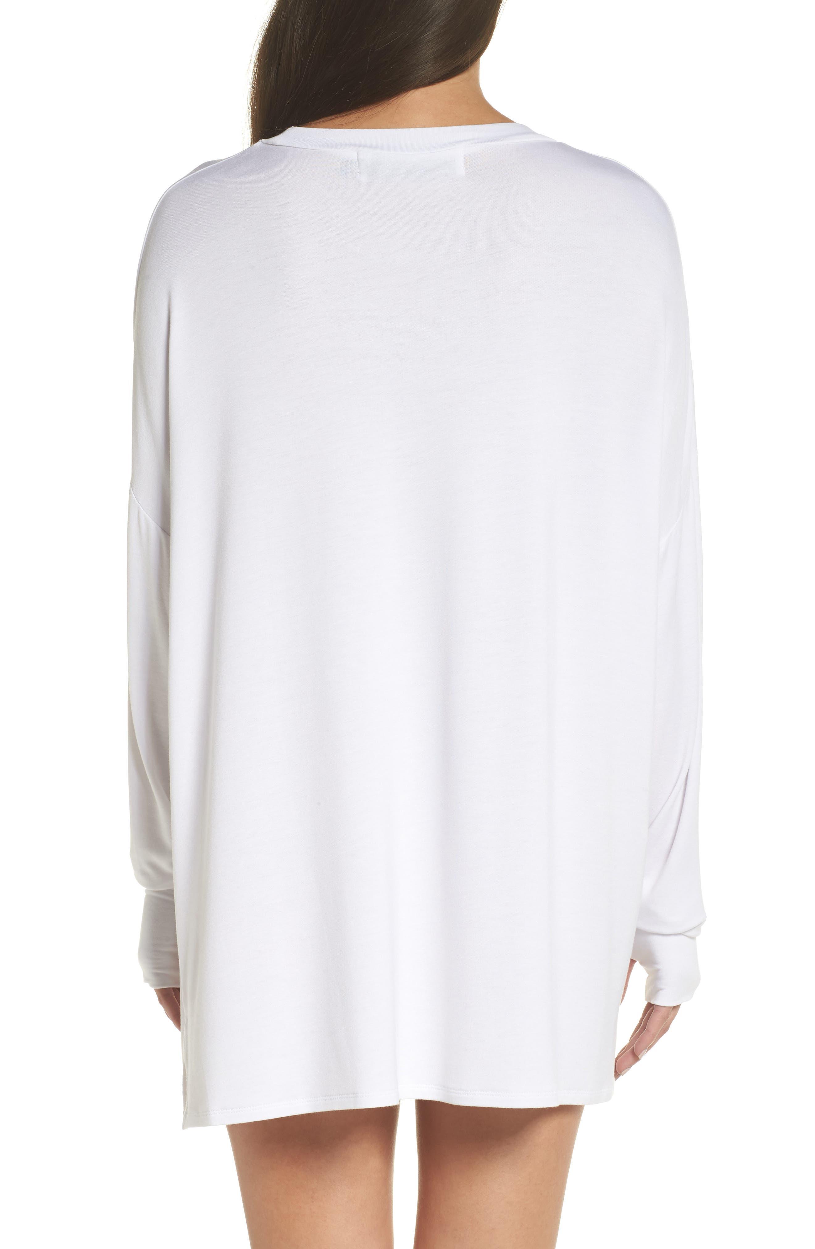 Heart Strokes Sleep Shirt,                             Alternate thumbnail 2, color,                             WHITE