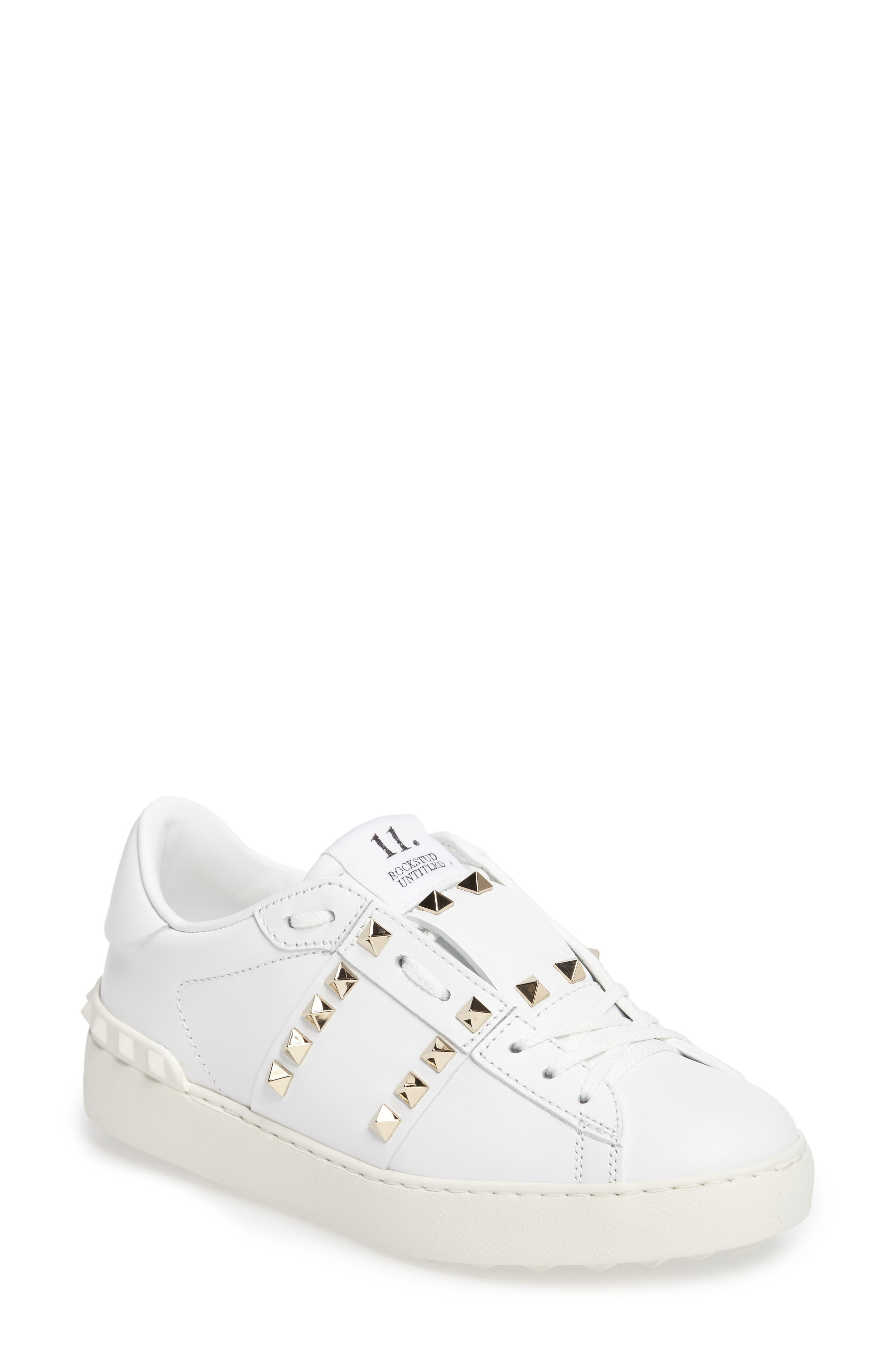 'Rockstud' Sneaker,                             Main thumbnail 1, color,                             WHITE LEATHER