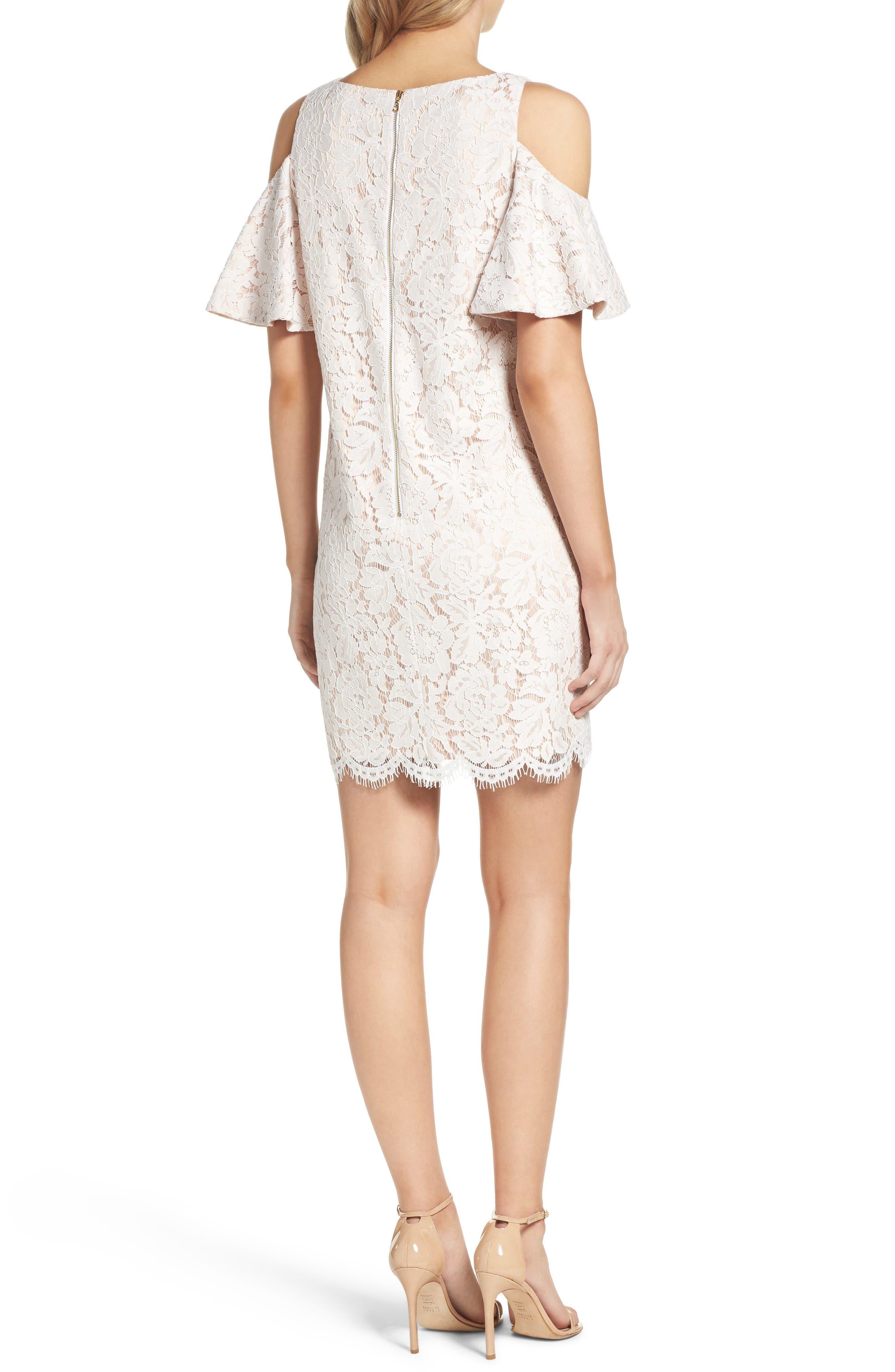 Cold Shoulder Lace Shift Dress,                             Alternate thumbnail 4, color,