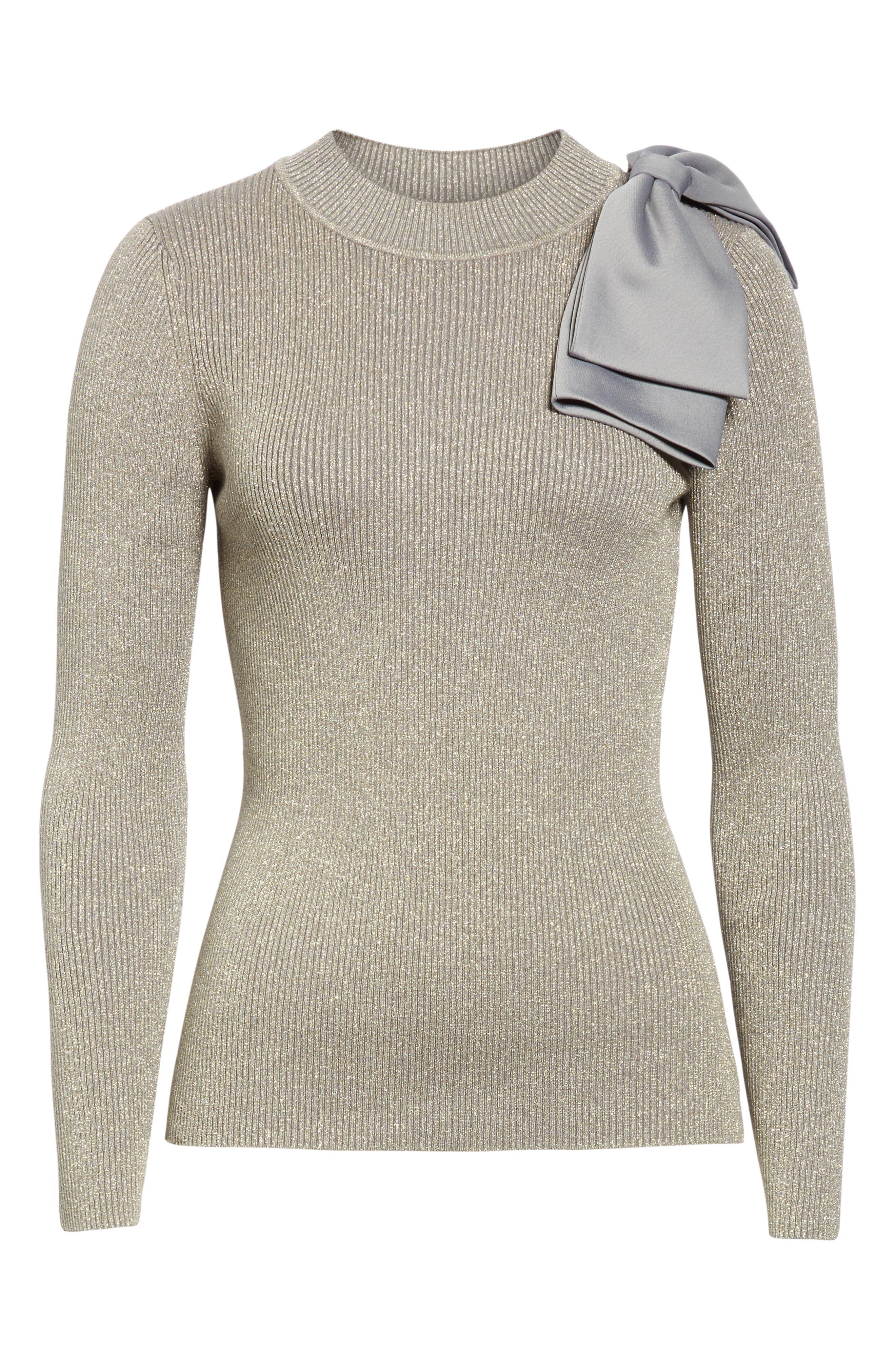 Saaydie Bow Trim Metallic Sweater,                             Alternate thumbnail 6, color,                             CHARCOAL