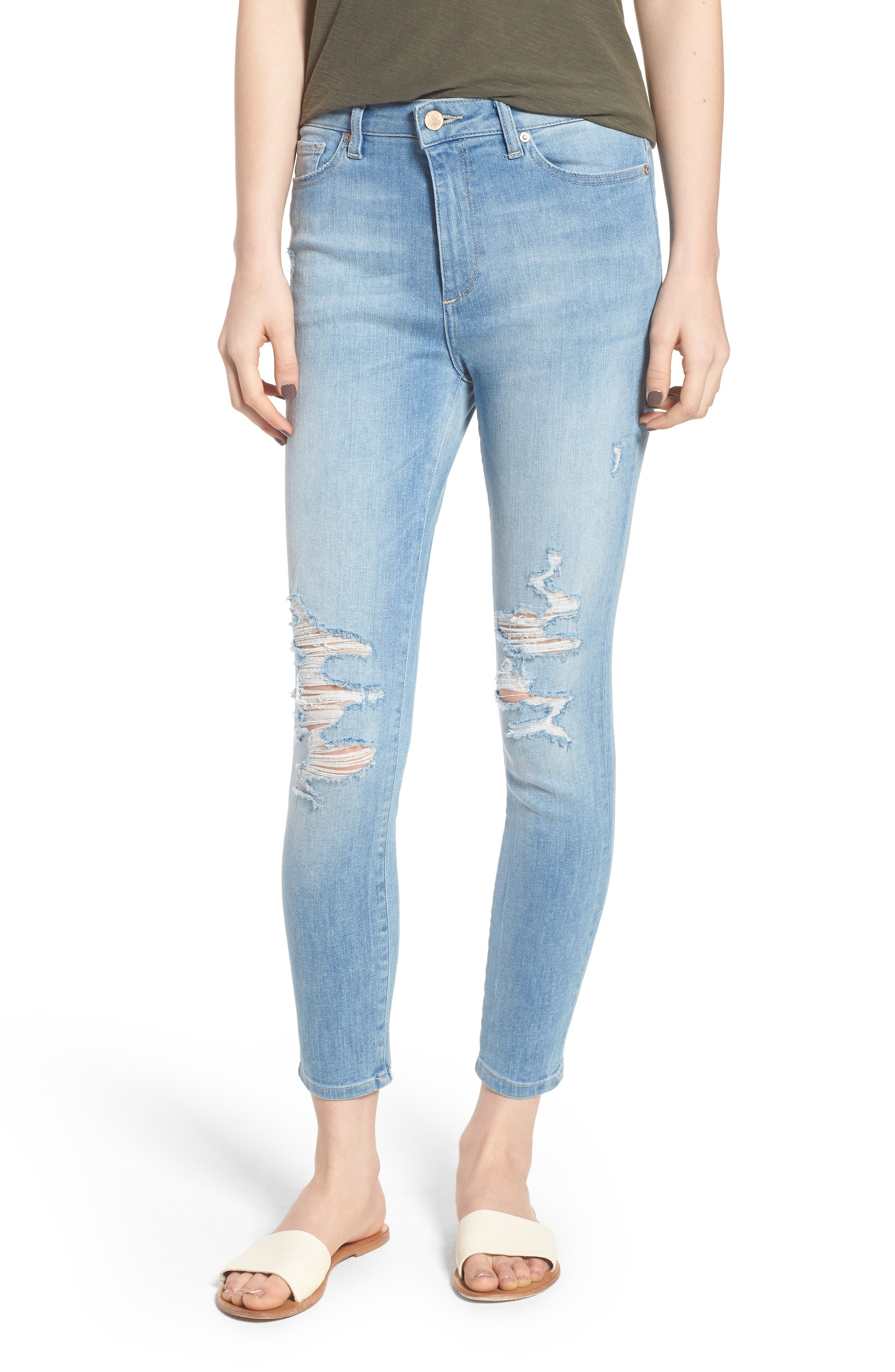 Chrissy Trimtone Ripped High Waist Skinny Jeans,                             Main thumbnail 1, color,                             430