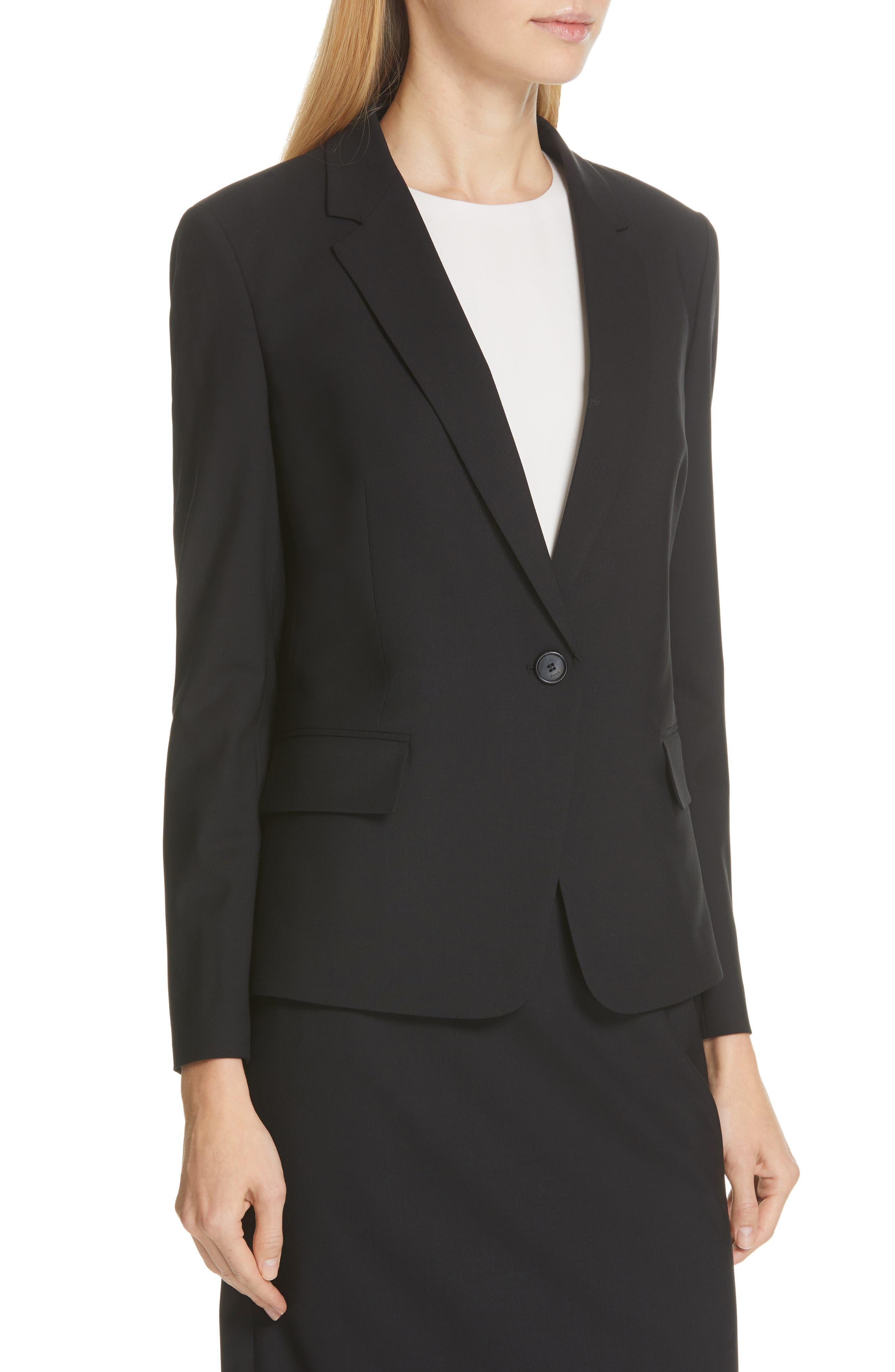BOSS,                             Jaela Stretch Wool Suit Jacket,                             Alternate thumbnail 4, color,                             BLACK