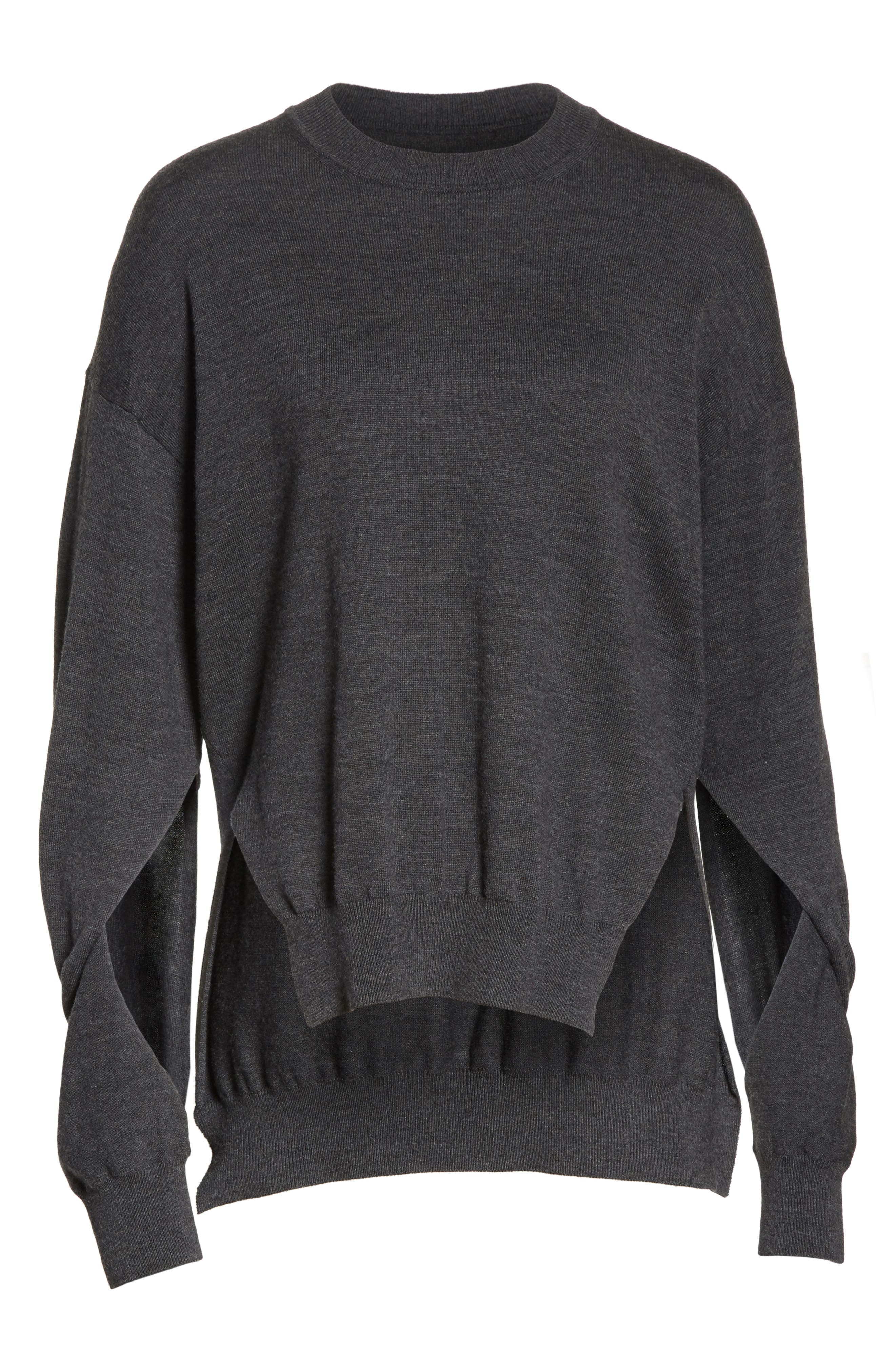 T by Alexander Wang Twisted Sleeve Wool Sweater,                             Alternate thumbnail 6, color,                             060