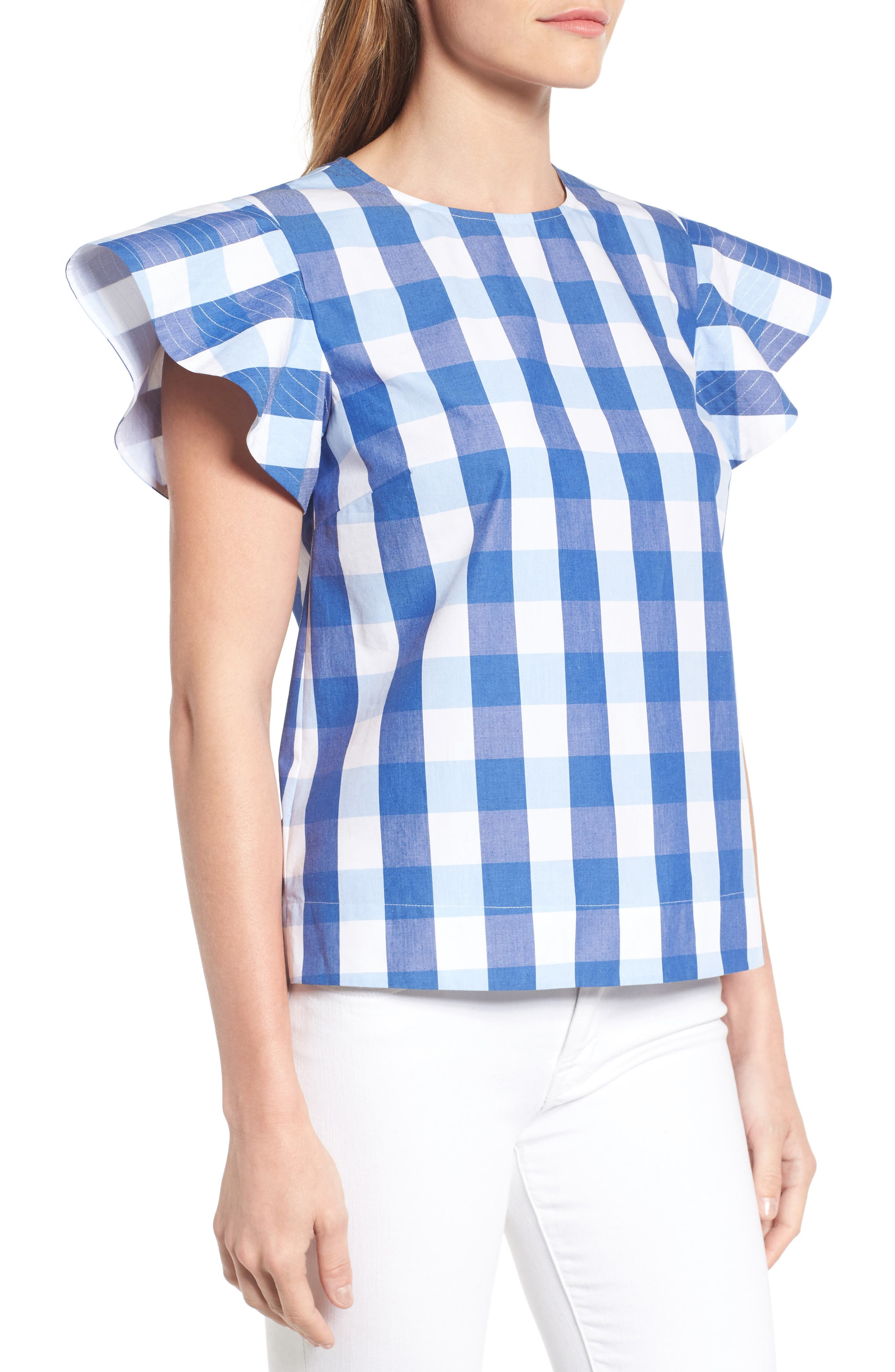 Cloister Gingham Cotton Top,                             Alternate thumbnail 5, color,