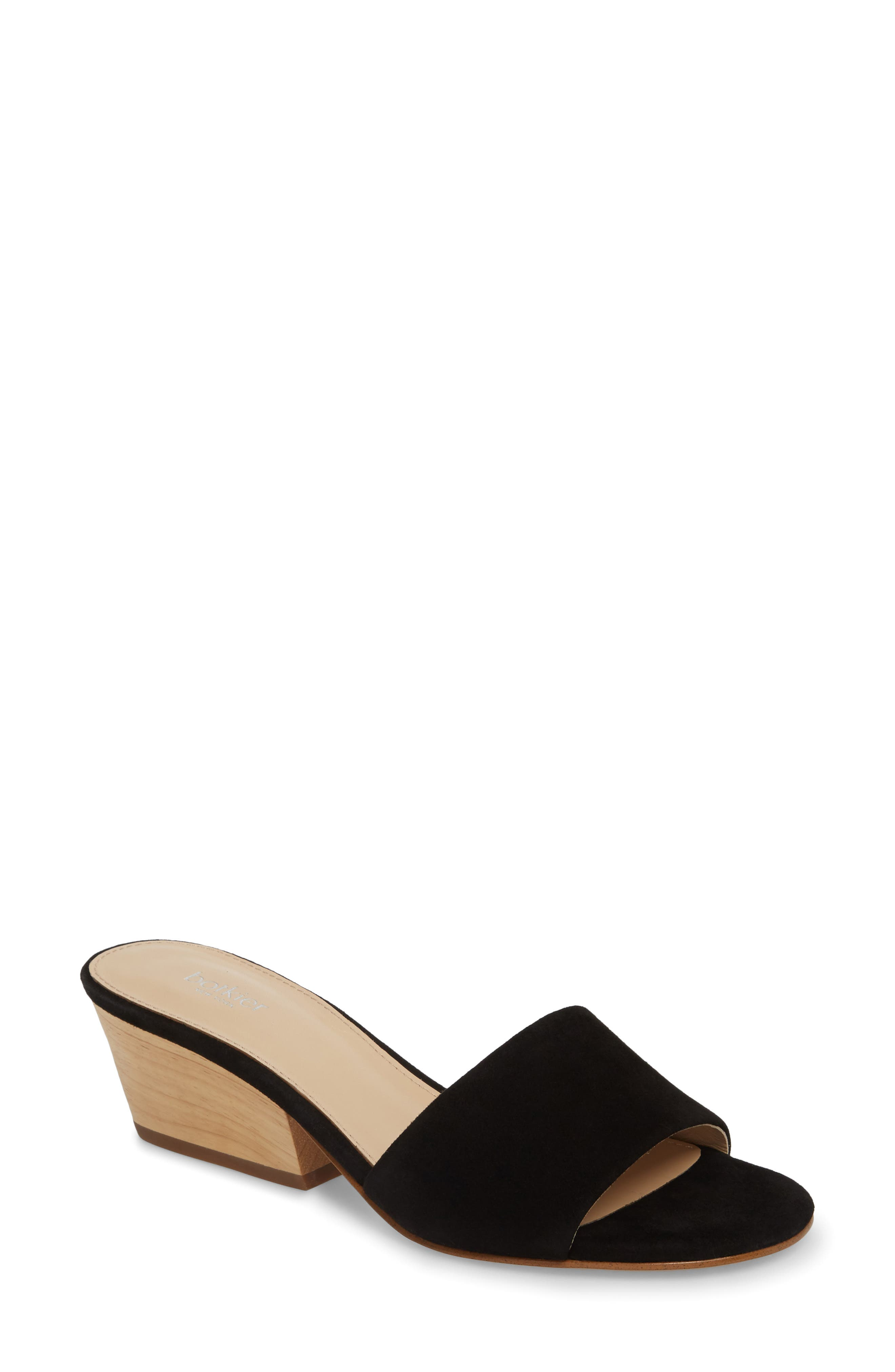 Carlie Mule,                             Main thumbnail 1, color,                             BLACK SUEDE