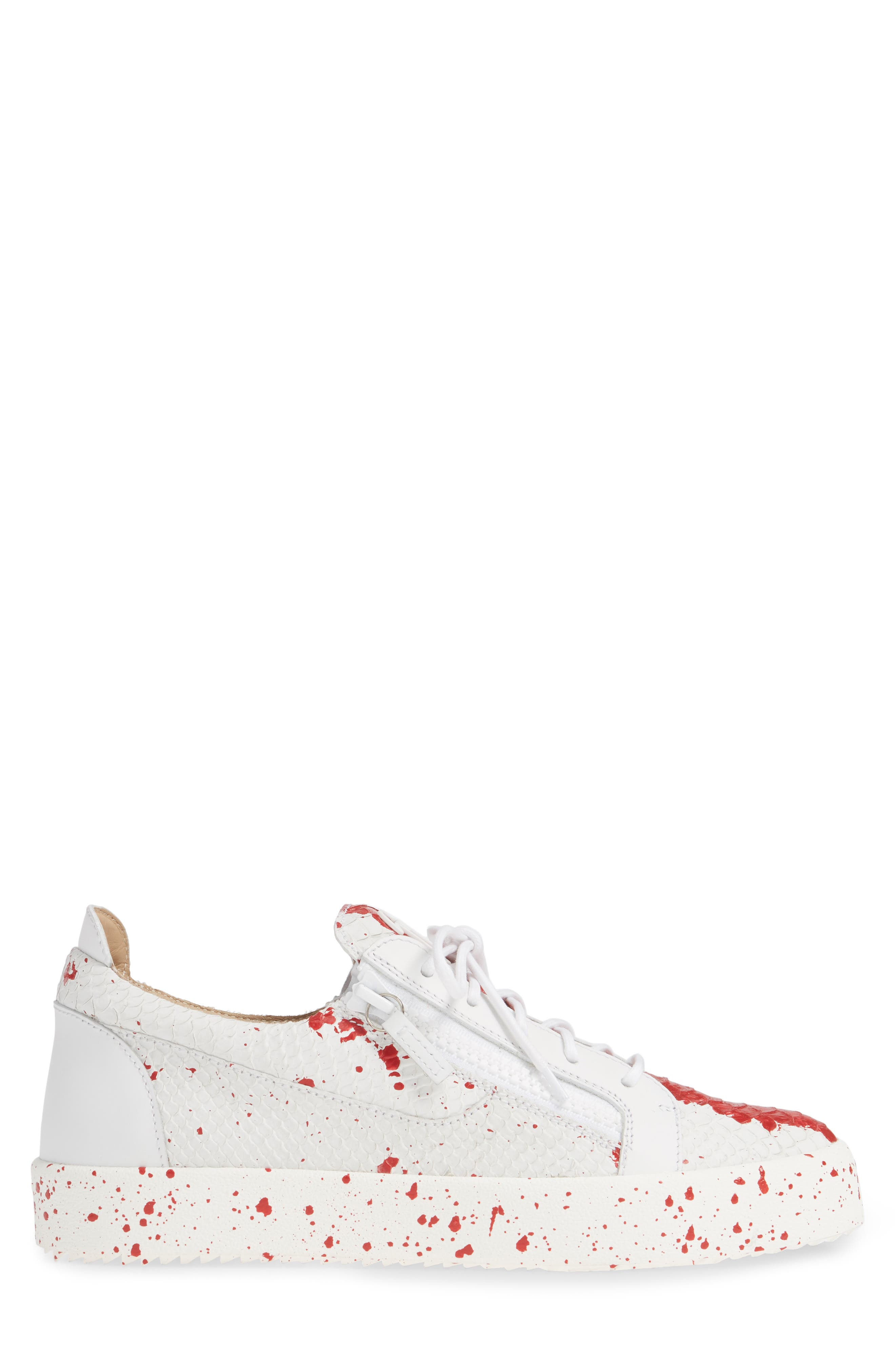 Embossed Low Top Sneaker,                             Alternate thumbnail 3, color,                             WHITE/ RED