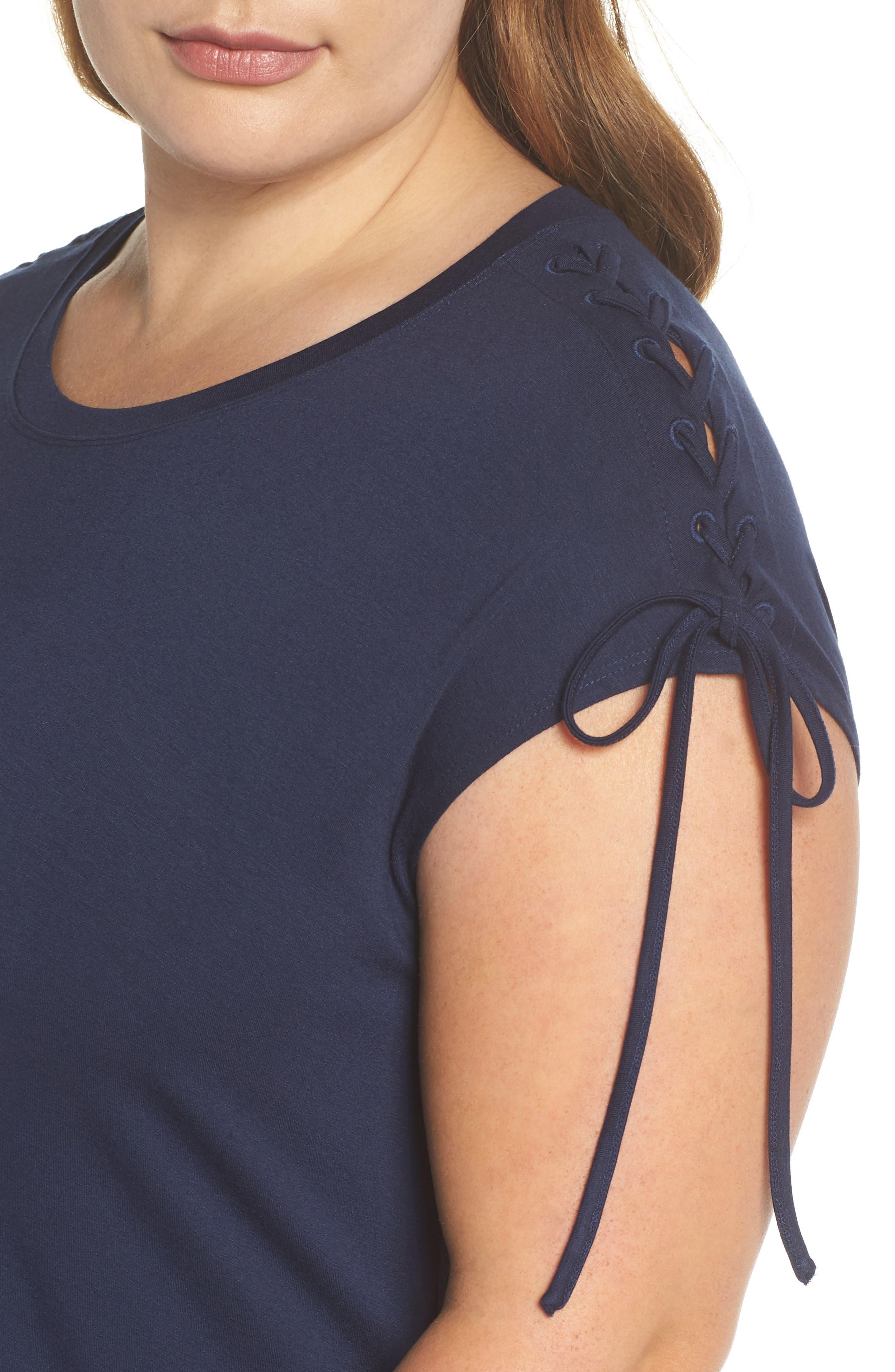 VINCE CAMUTO,                             Lace-Up Shoulder T-Shirt Dress,                             Alternate thumbnail 5, color,                             461