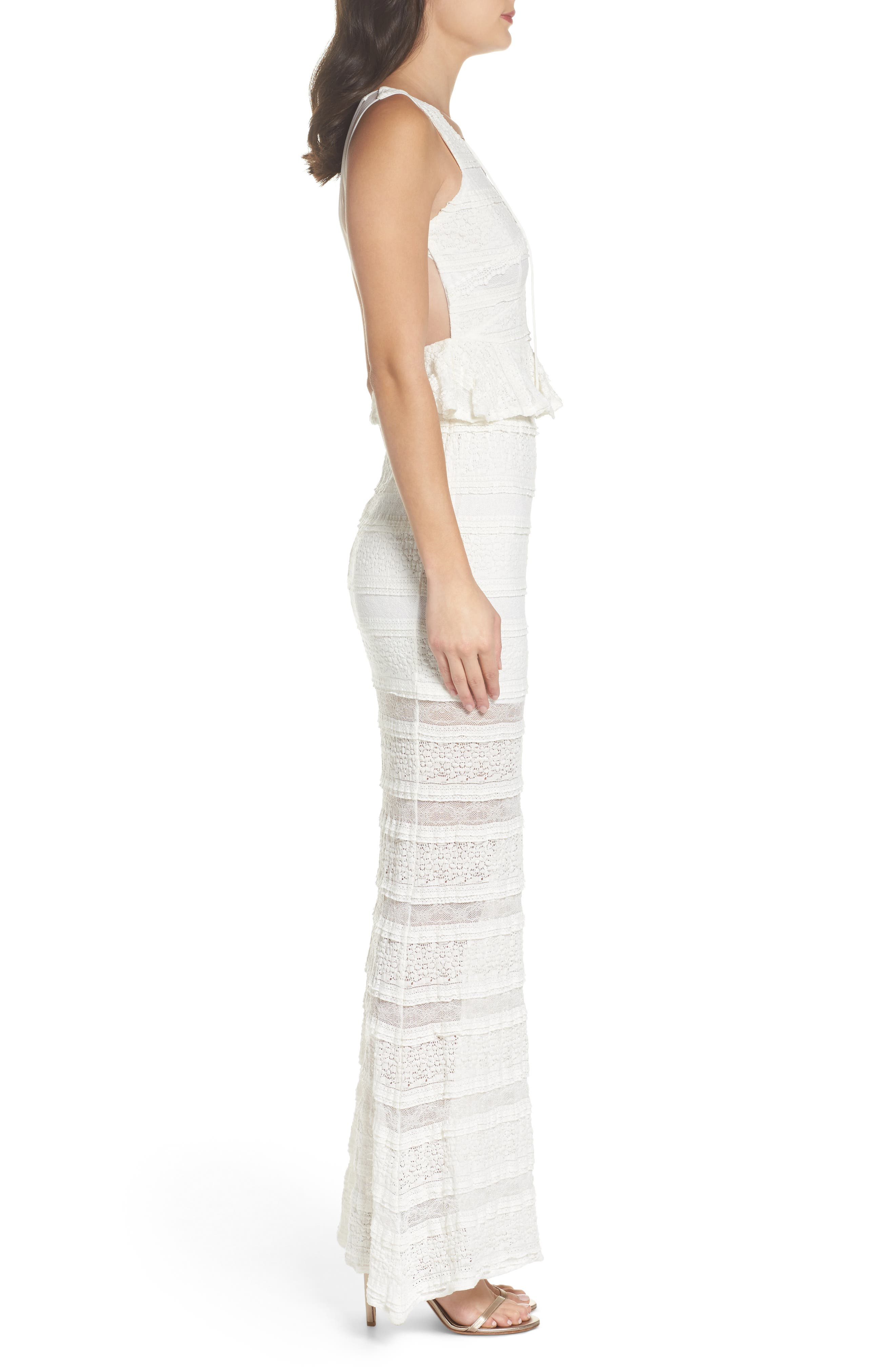 Makayla Peplum Lace Maxi Dress,                             Alternate thumbnail 3, color,                             901
