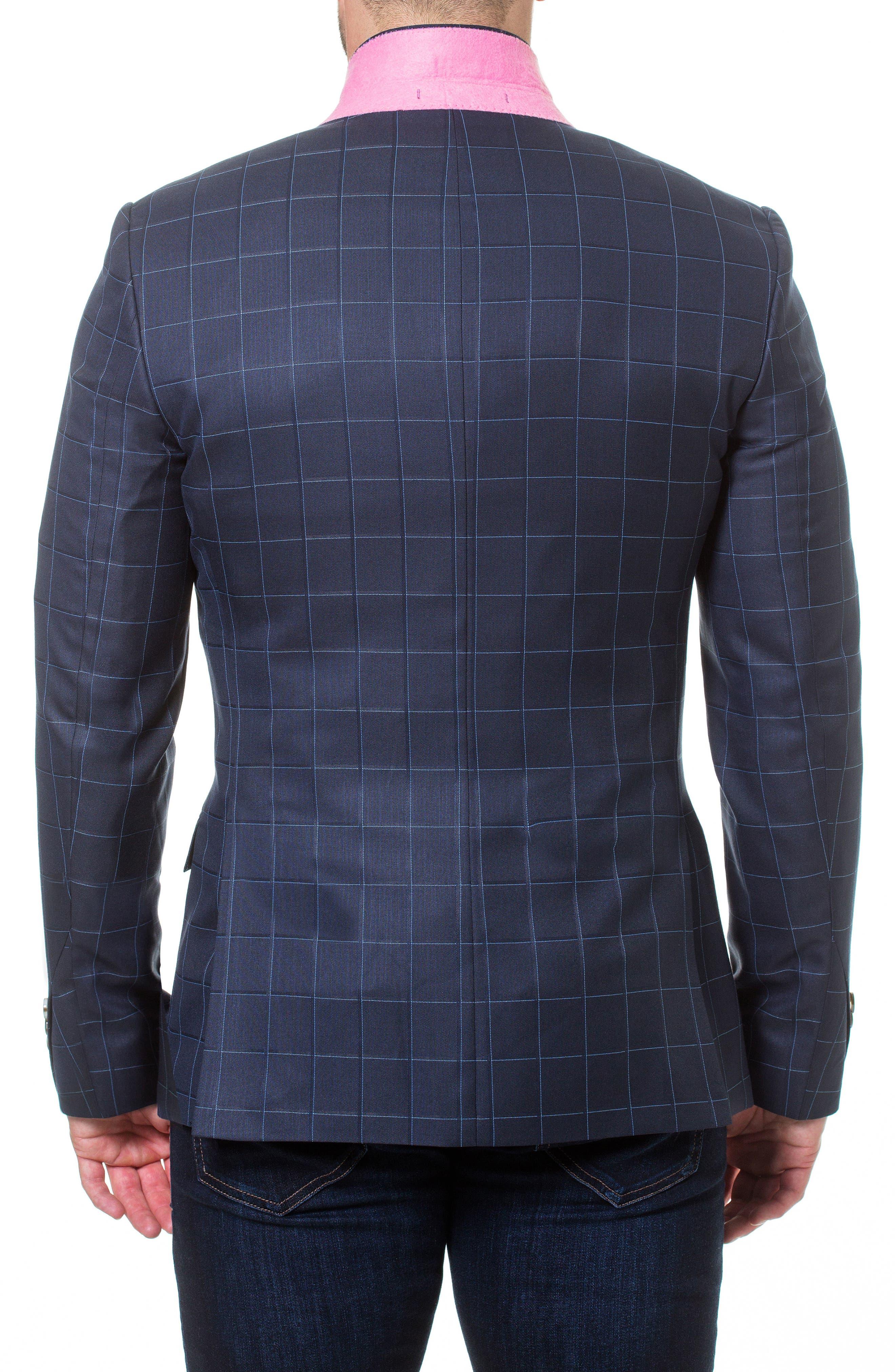 Descartes Check Linen & Cotton Blend Sport Coat,                             Alternate thumbnail 5, color,
