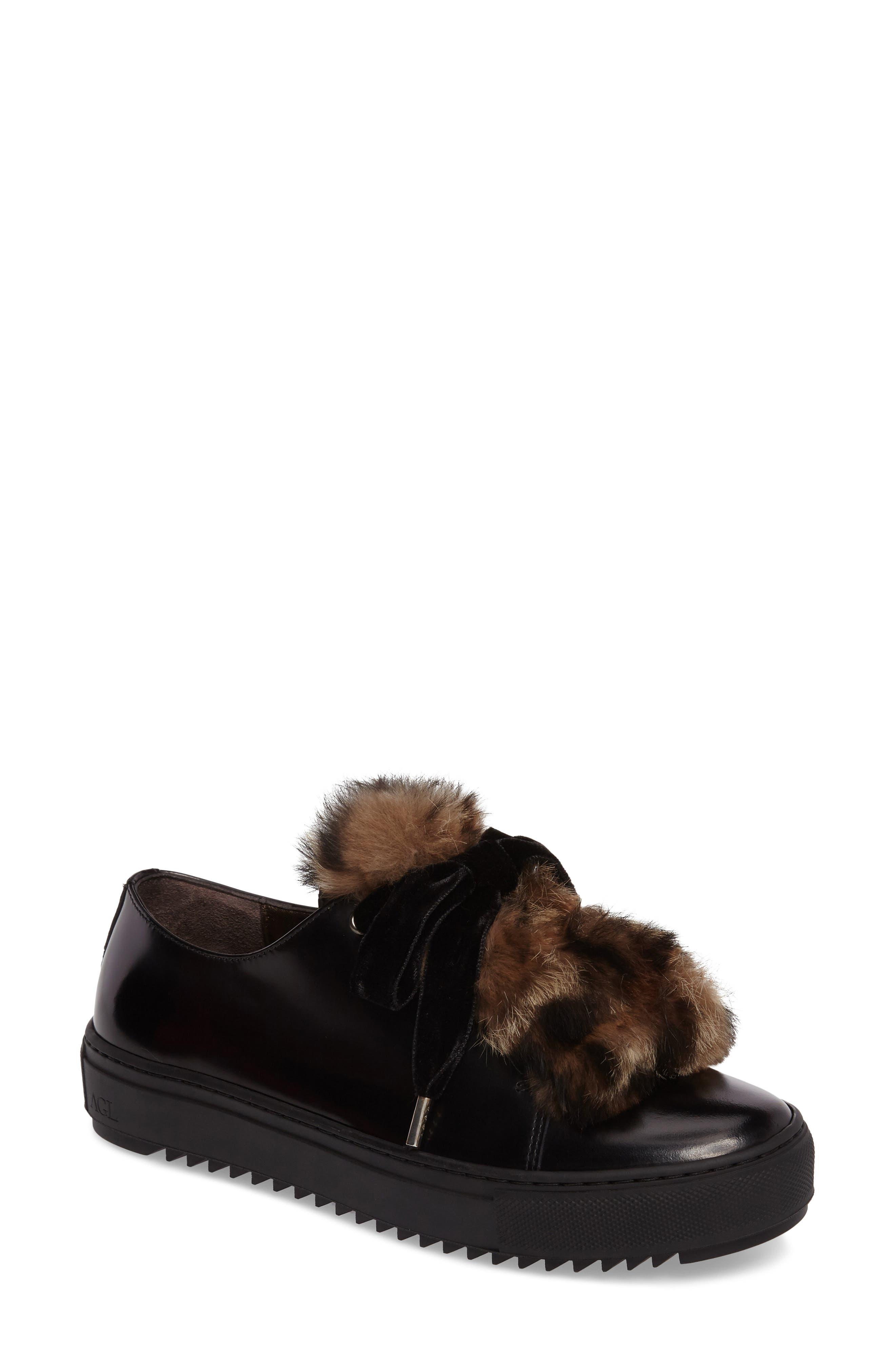Fluff Genuine Rabbit Fur Sneaker,                             Main thumbnail 1, color,                             001
