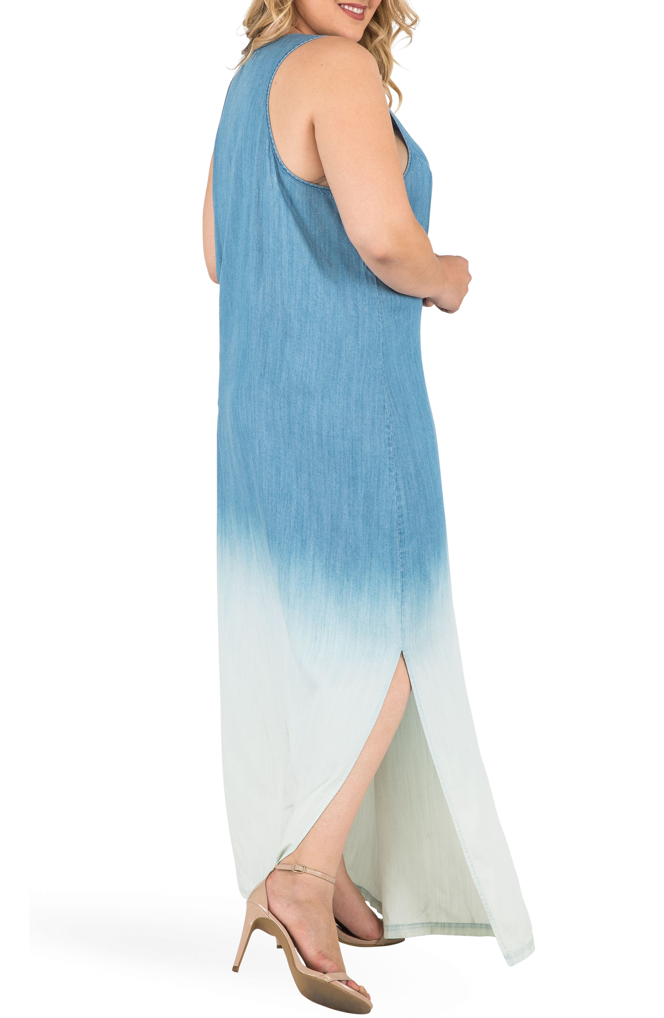 Angie Ombré Chmbray Maxi Dress,                             Alternate thumbnail 4, color,                             BLUE