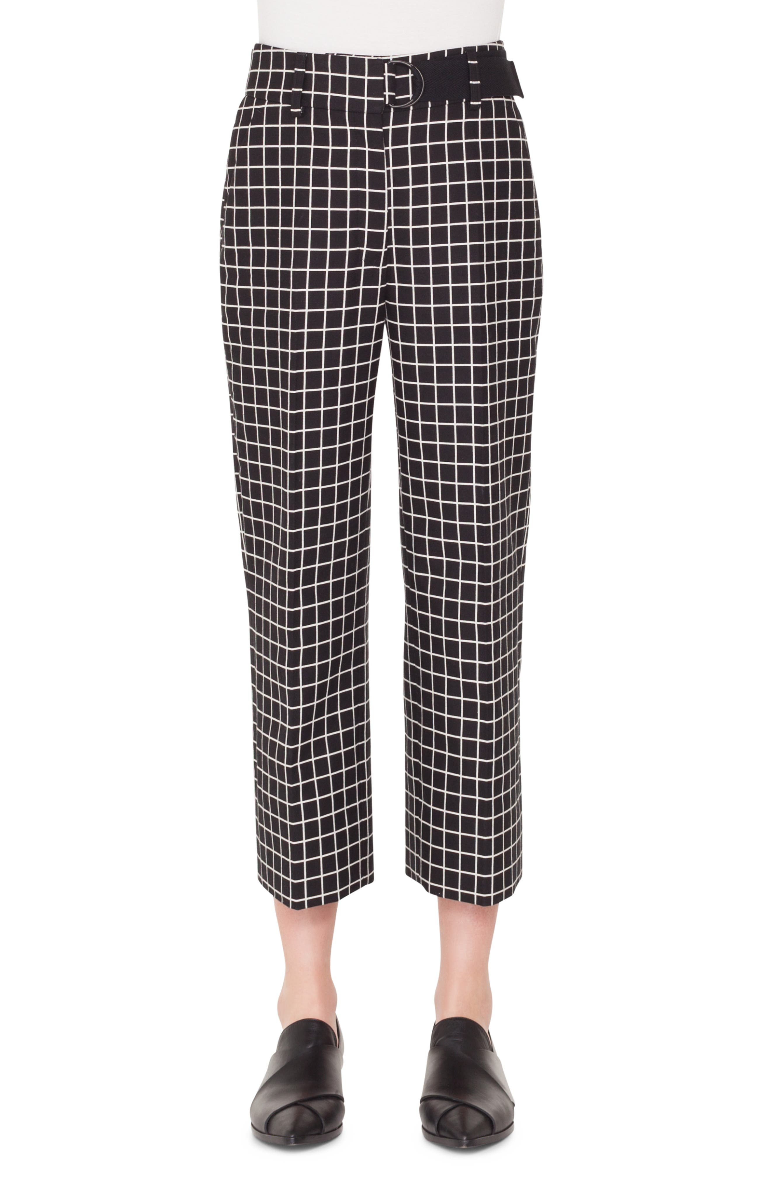 Ford Grid-Jacquard Cotton Cropped Tube Pants in Nero-Crema