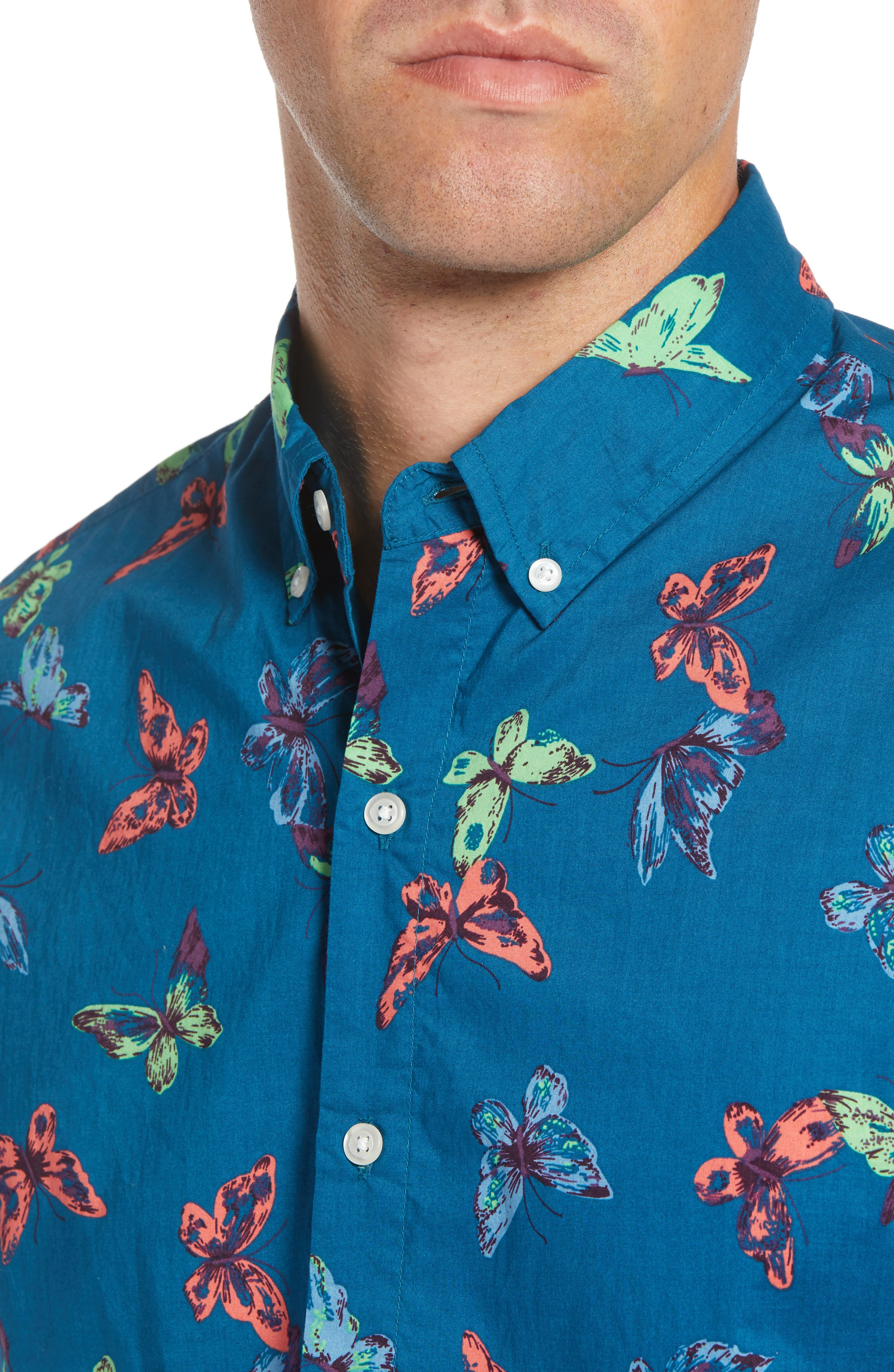 Riviera Slim Fit Butterfly Print Sport Shirt,                             Alternate thumbnail 2, color,                             400