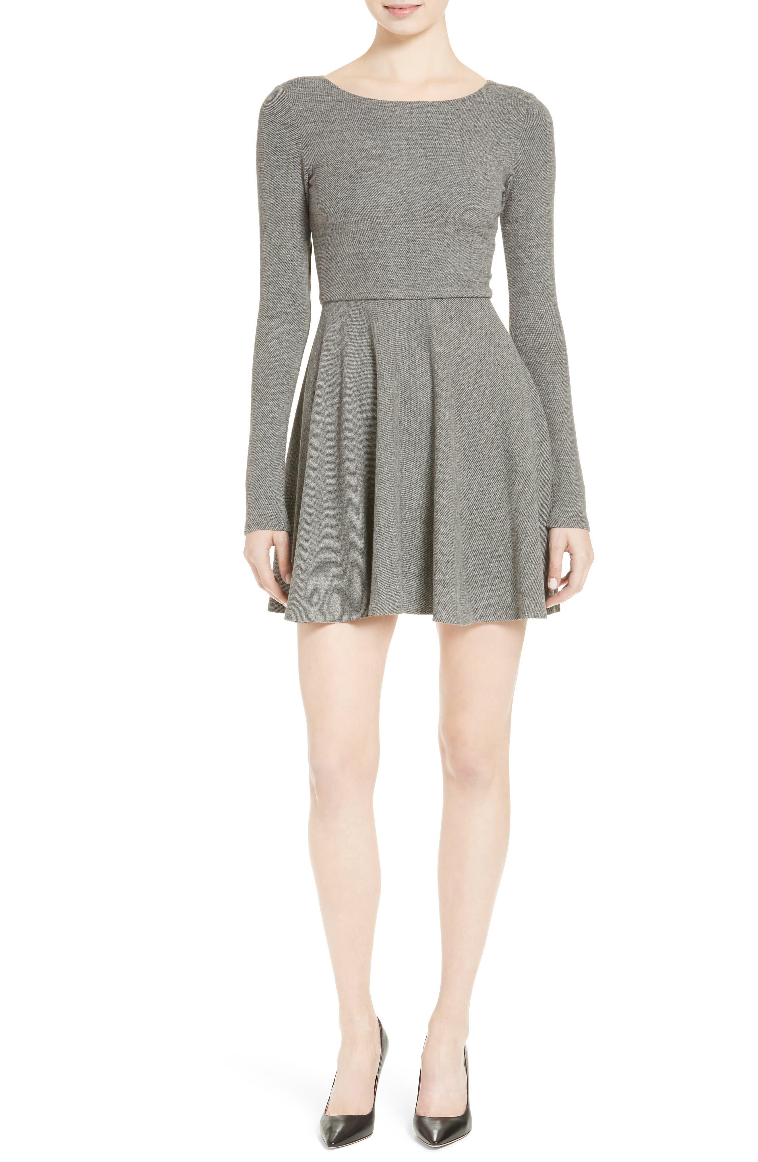 'Brinley' Long Sleeve Mini Dress,                             Alternate thumbnail 5, color,                             GREY